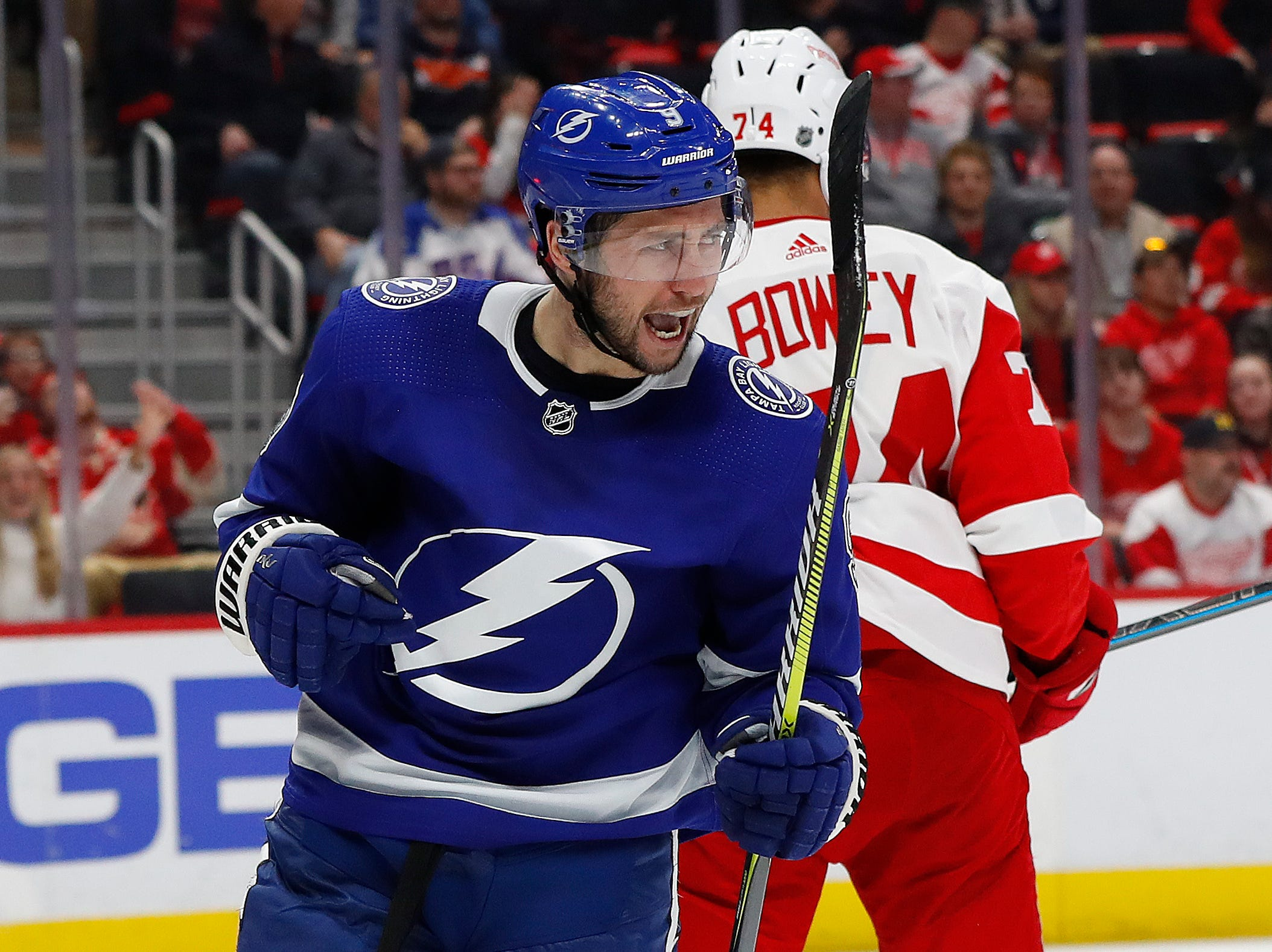 Tampa Bay Lightning center Tyler Johnson (9) celebrates his goal against the Detroit Red Wings in the third period.