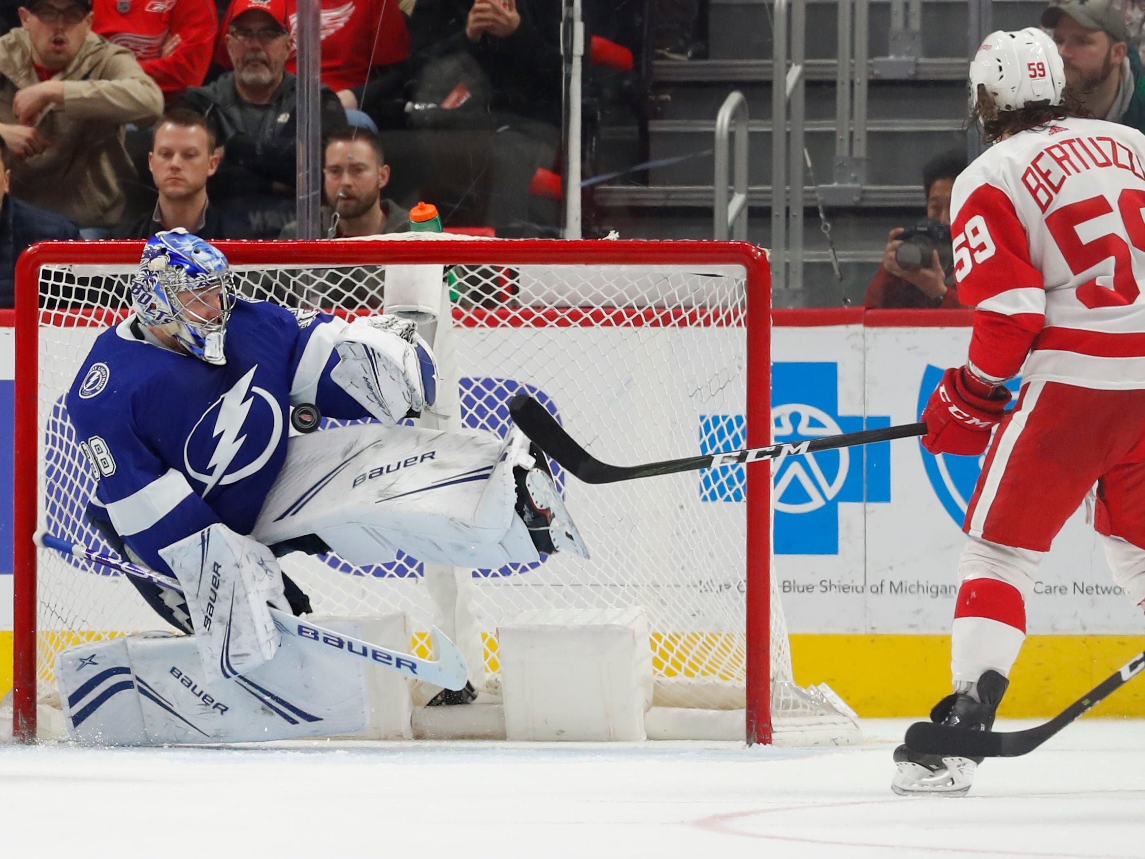 Tampa Bay Lightning goaltender Andrei Vasilevskiy (88) stops a Detroit Red Wings left wing Tyler Bertuzzi (59) shot in the third period.