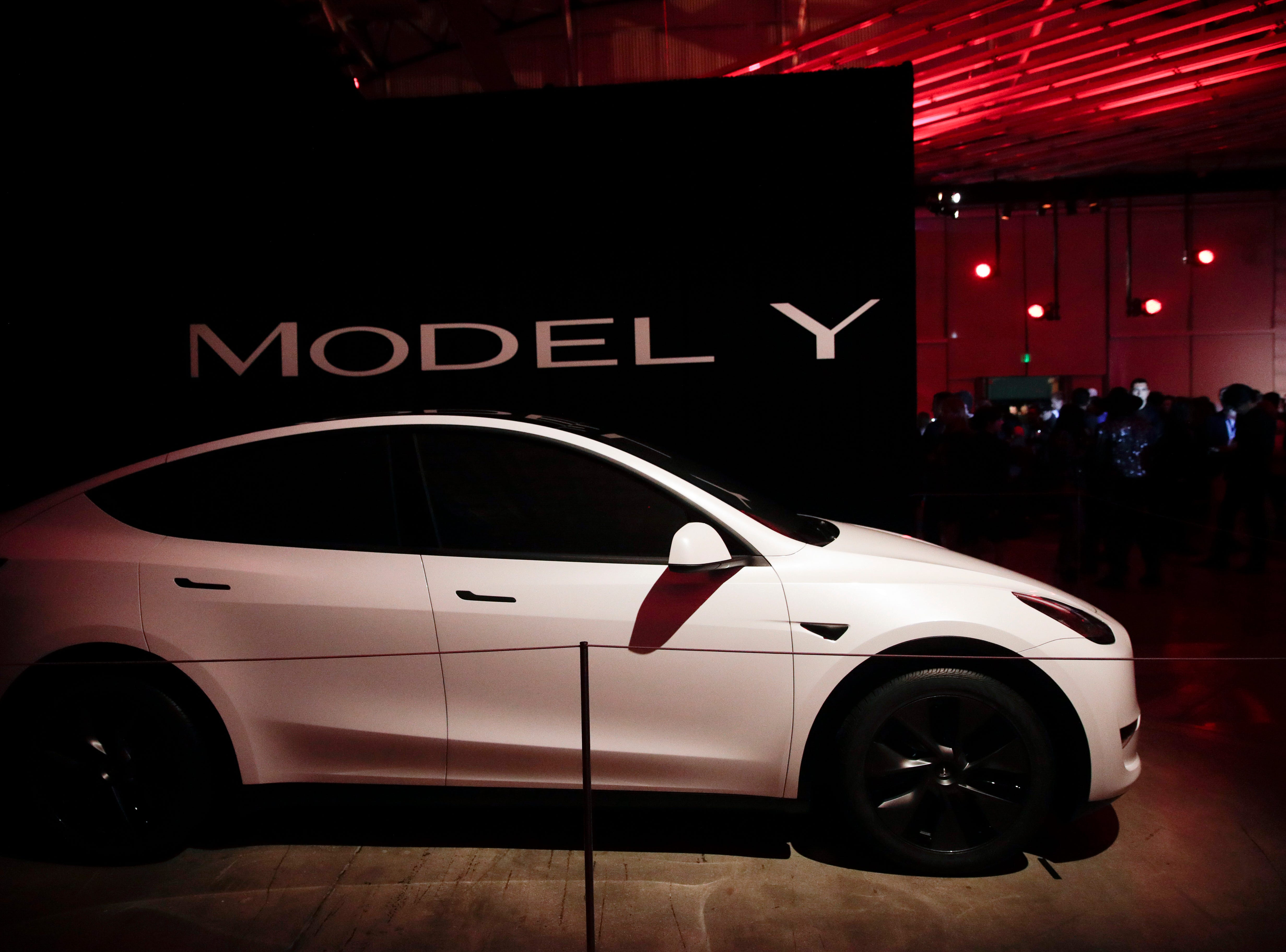 Tesla's Model Y is displayed at the company's design studio Thursday, March 14, 2019, in Hawthorne, Calif.