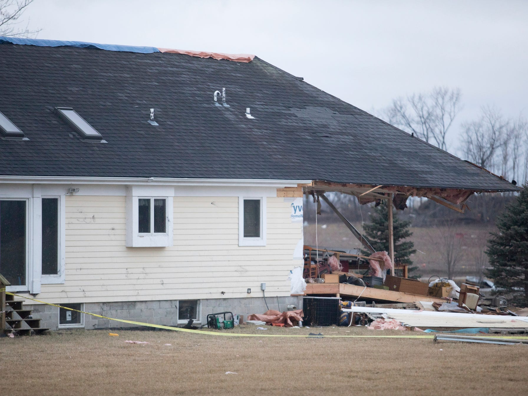 A house in Vernon, seen Friday morning, suffered heavy damage.