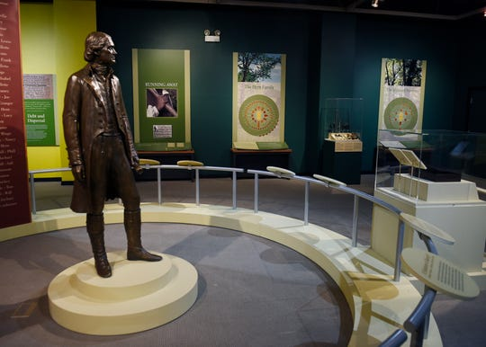 A statue of Thomas Jefferson is on display inside the exhibit.
