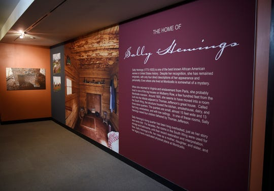 The exhibit  home of slave Sally Hemings at the entrance of the exhibit.