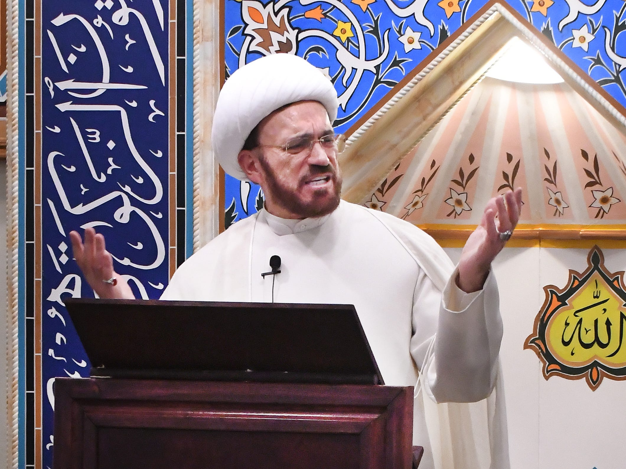 Imam Mohammad Ali Elahi addresses the New Zealand mosque massacre during a prayer service at the Islamic House of Wisdom in Dearborn Heights  Friday.