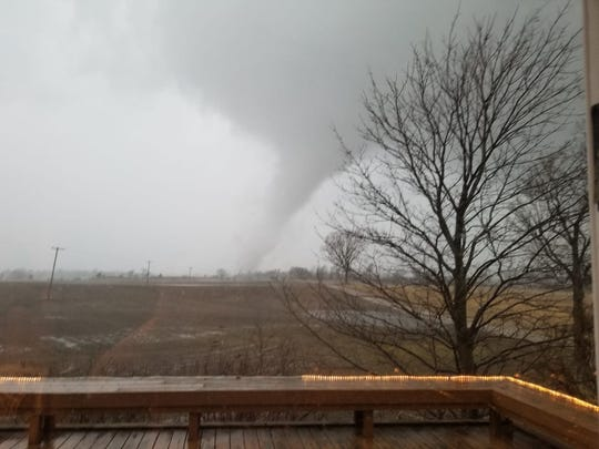 A tornado that touched down in Vernon at about 7:03 p.m. Thursday is likely the same twister that was spotted in nearby Durand at about 7:05 p.m., the National Weather Service said. Patricia Rothney took this photo of the tornado spotted on Newberry Road in Durand.