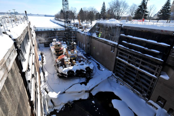 The Soo Locks In Winter