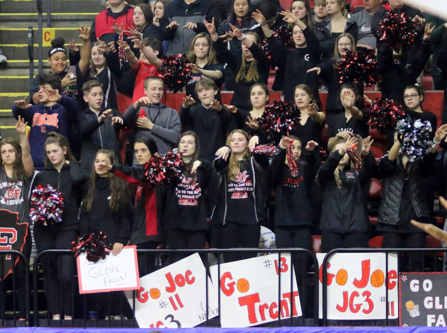 Glens Falls fans cheer during an 83-63 win over Olean in a Class B boys basketball state semifinal March 15, 2019 at Floyd L. Maines Veterans Memorial Arena in Binghamton.