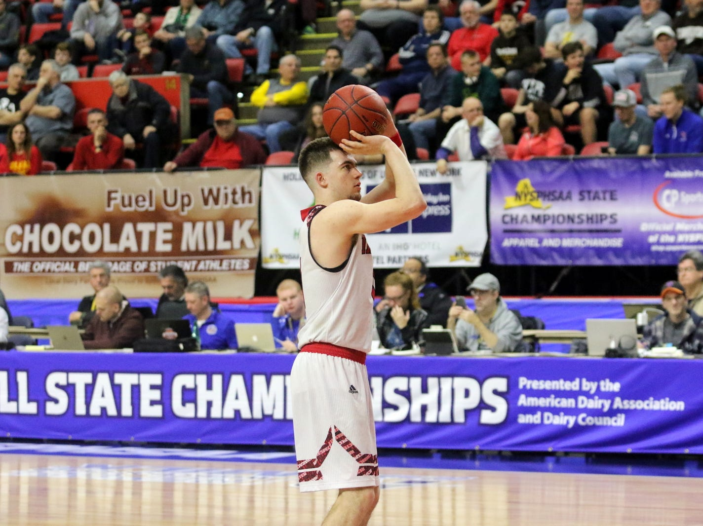 Joseph Girard III of Glens Falls takes a foul shot during an 83-63 win over Olean in a Class B boys basketball state semifinal March 15, 2019 at Floyd L. Maines Veterans Memorial Arena in Binghamton.
