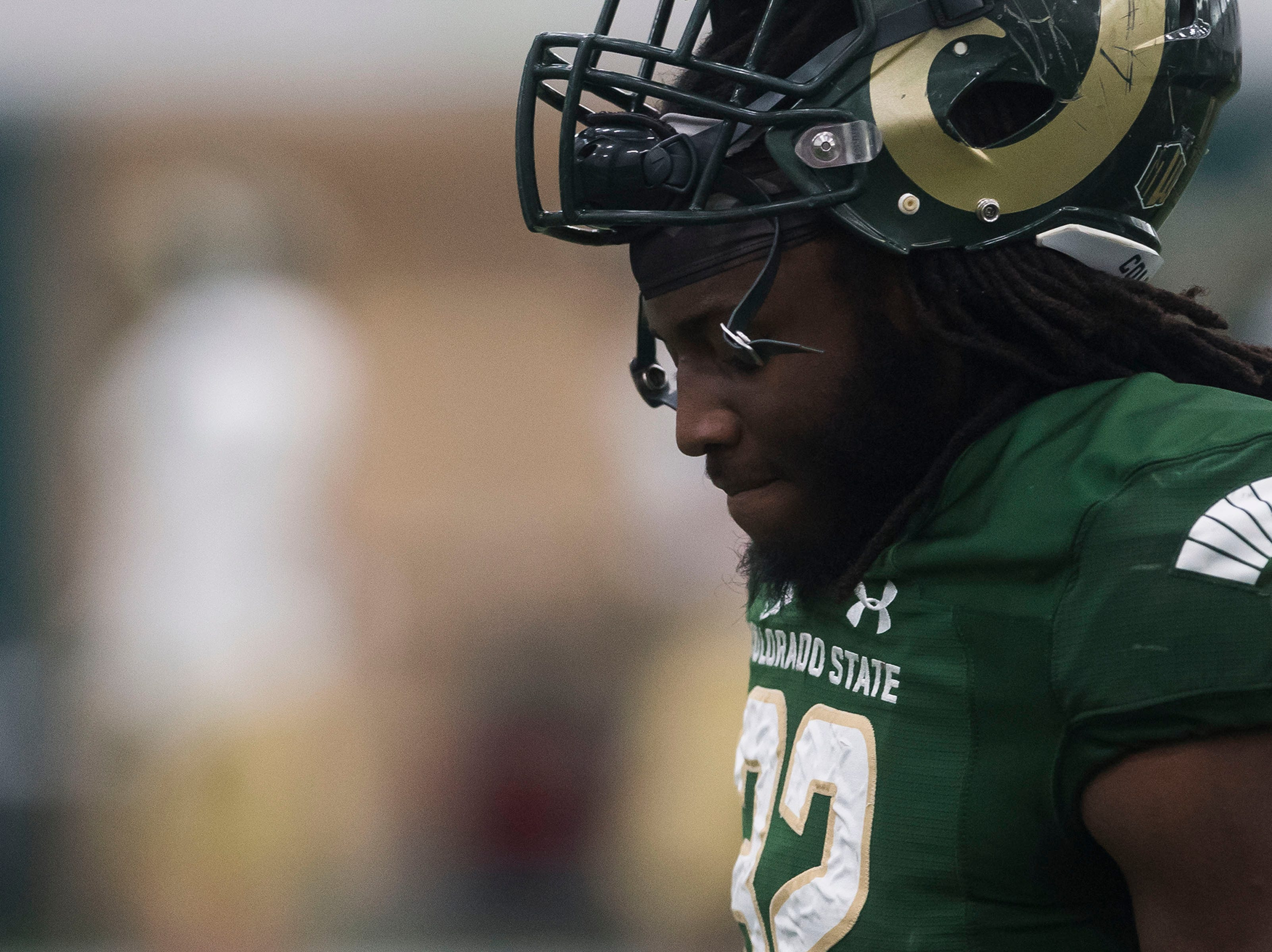 CSU junior running back Marcus McElrow (32) goes through drills preceding CSU's Spring game on Thursday, March 14, 2019, at their indoor practice facility in Fort Collins, Colo.
