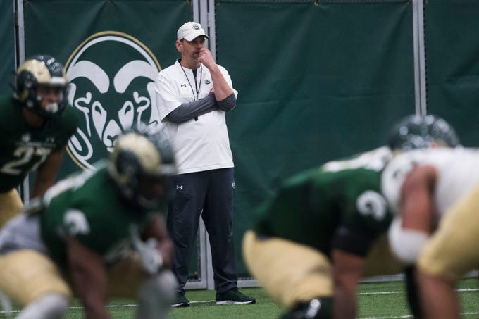 CSU head coach Mike Bobo looks on during CSU's Spring game on Thursday, March 14, 2019, at their indoor practice facility in Fort Collins, Colo.