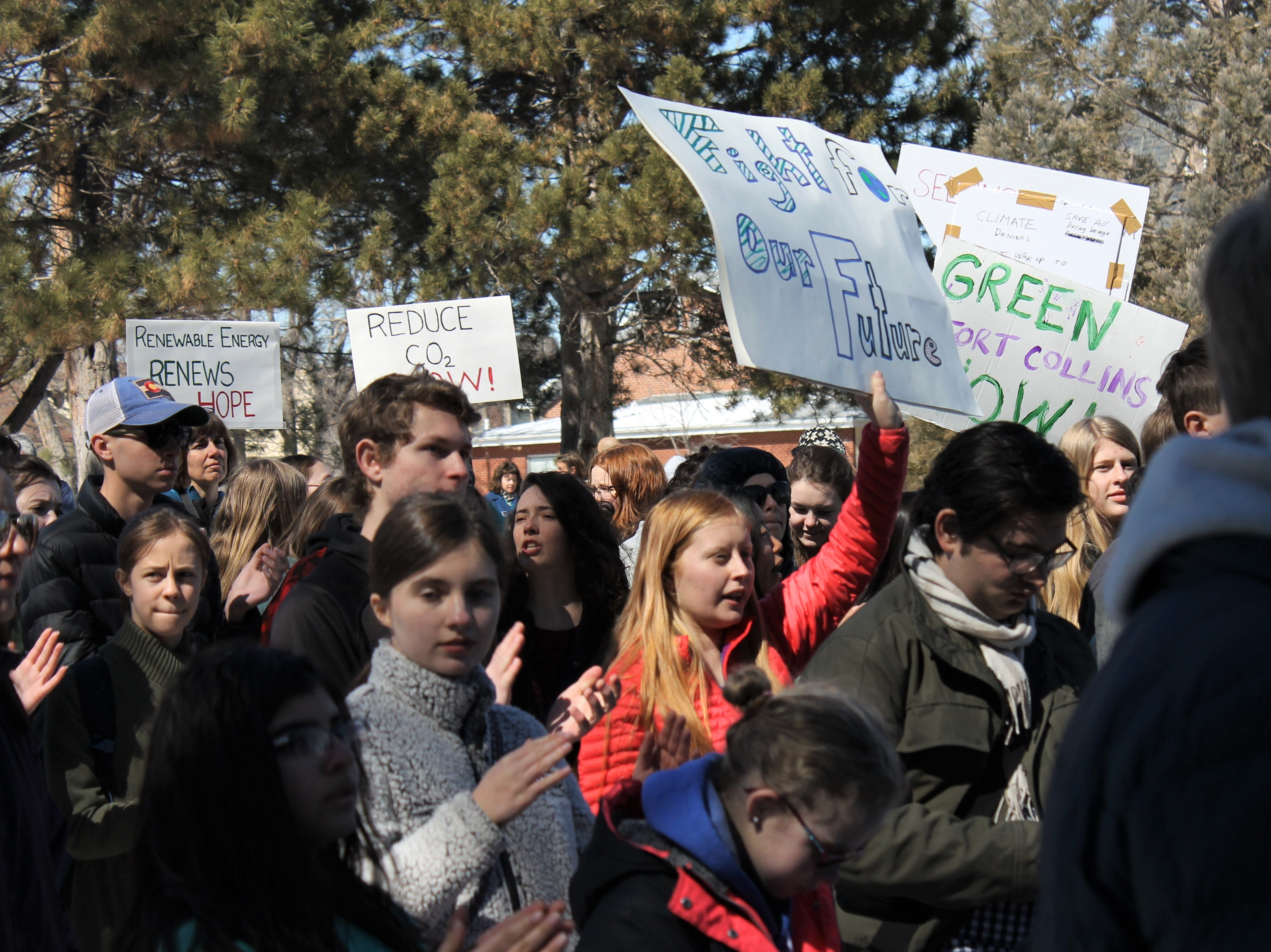 Hundreds of students from Thompson School District and Poudre School District ditched class to call for better climate policy March 15, 2019. The strike is part of a worldwide youth-led effort to bring attention and action to the issue.