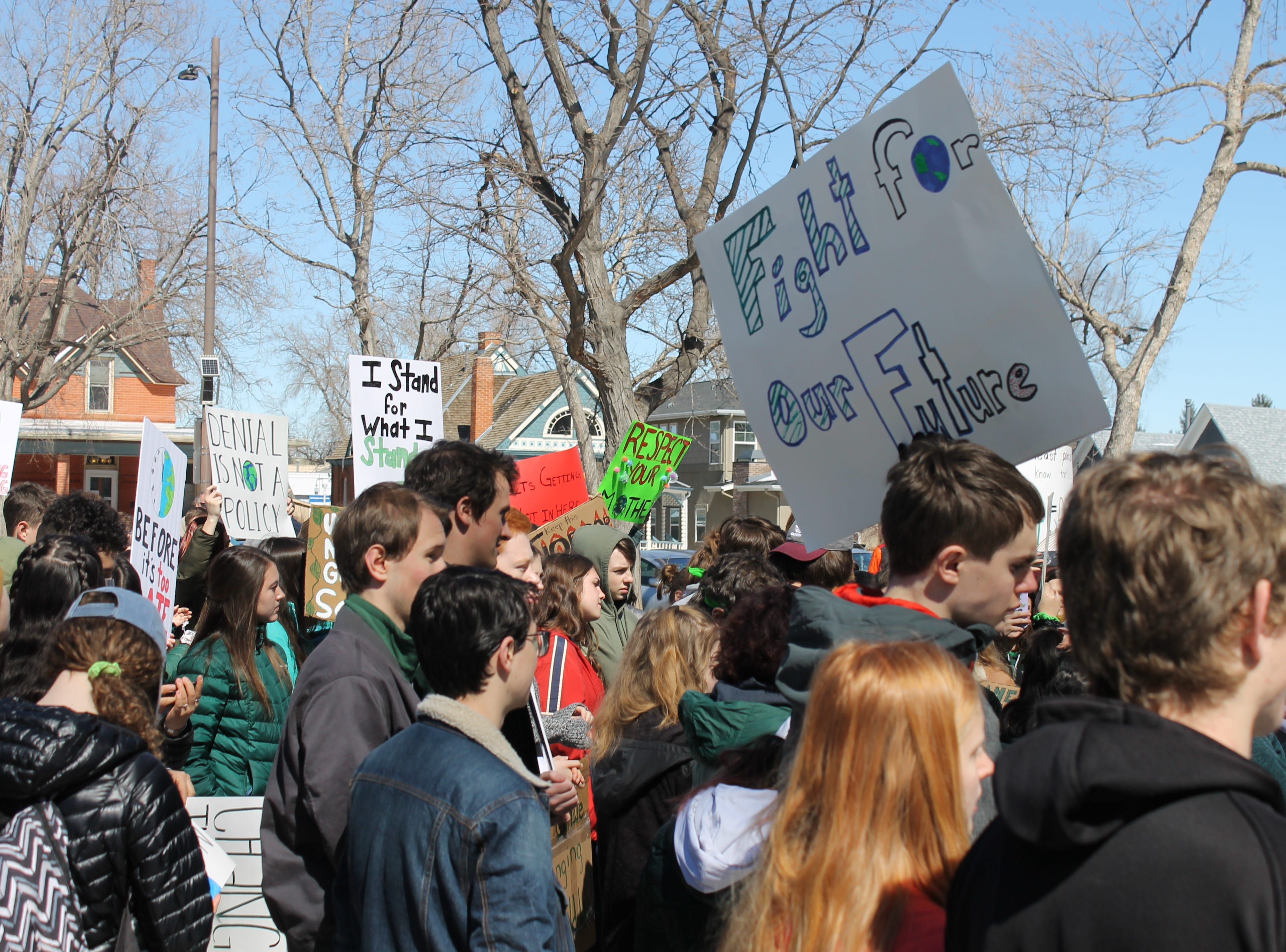 Hundreds of students gathered at Library Park in Fort Collins March 15, 2019 during the school day. They ditched class to protest for better climate policy.