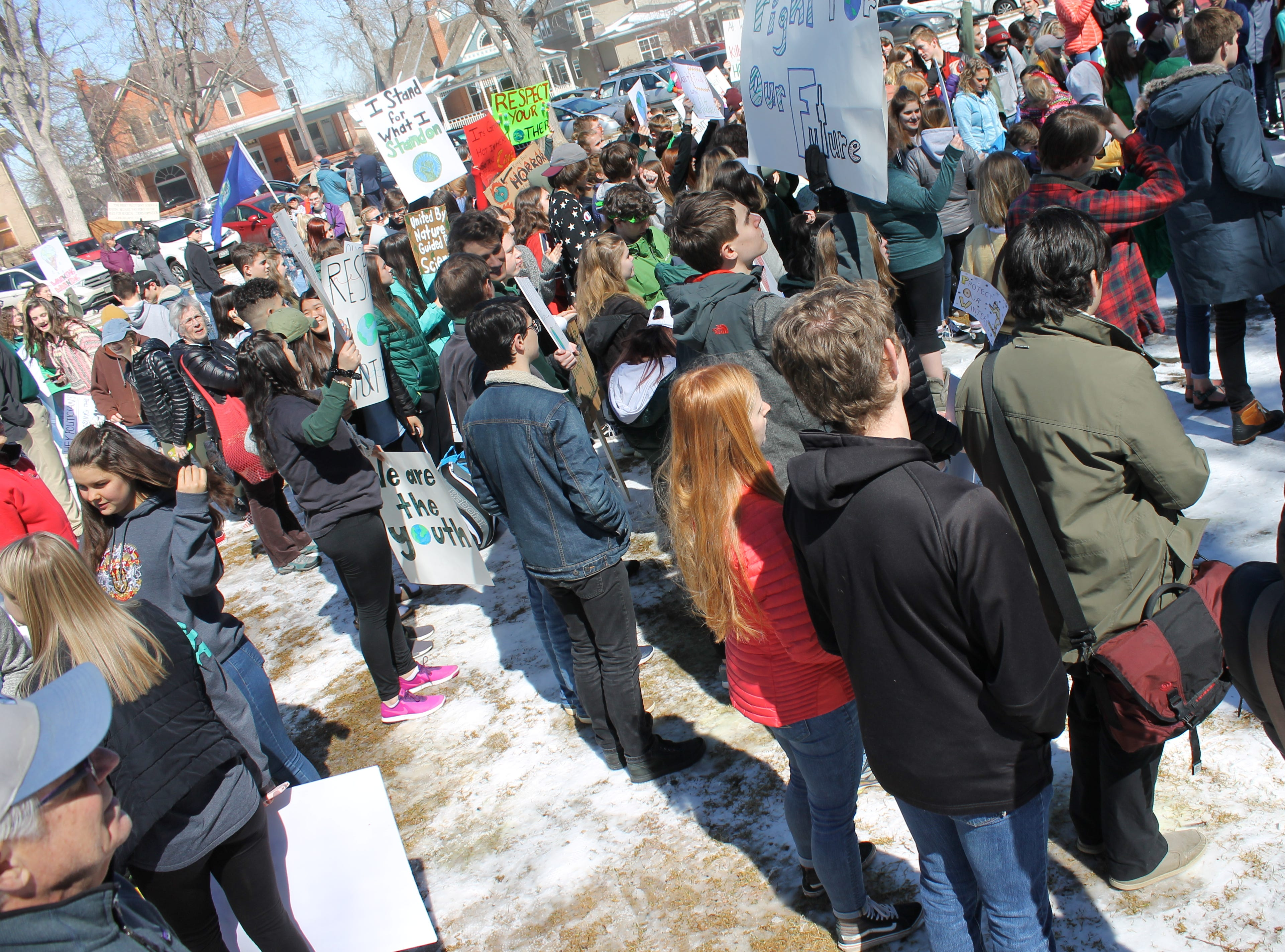 Hundreds of students from Thompson School District and Poudre School District skipped school March 15, 2019 to participate in a worldwide youth strike to combat climate change.