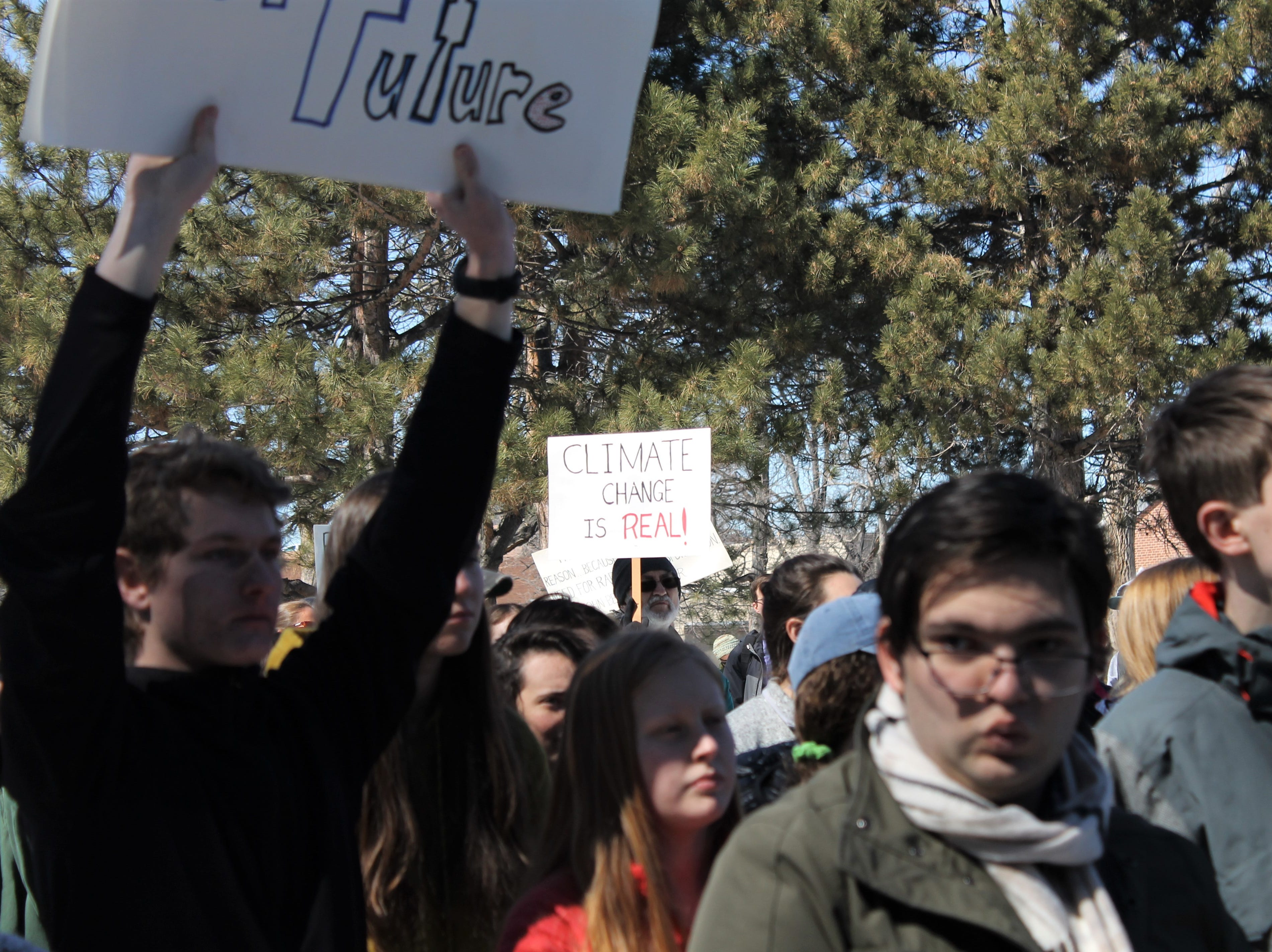 Hundreds of students from Thompson School District and Poudre School District ditched class to call for better climate policy March 15, 2019. Some adults joined in to show their support as well.