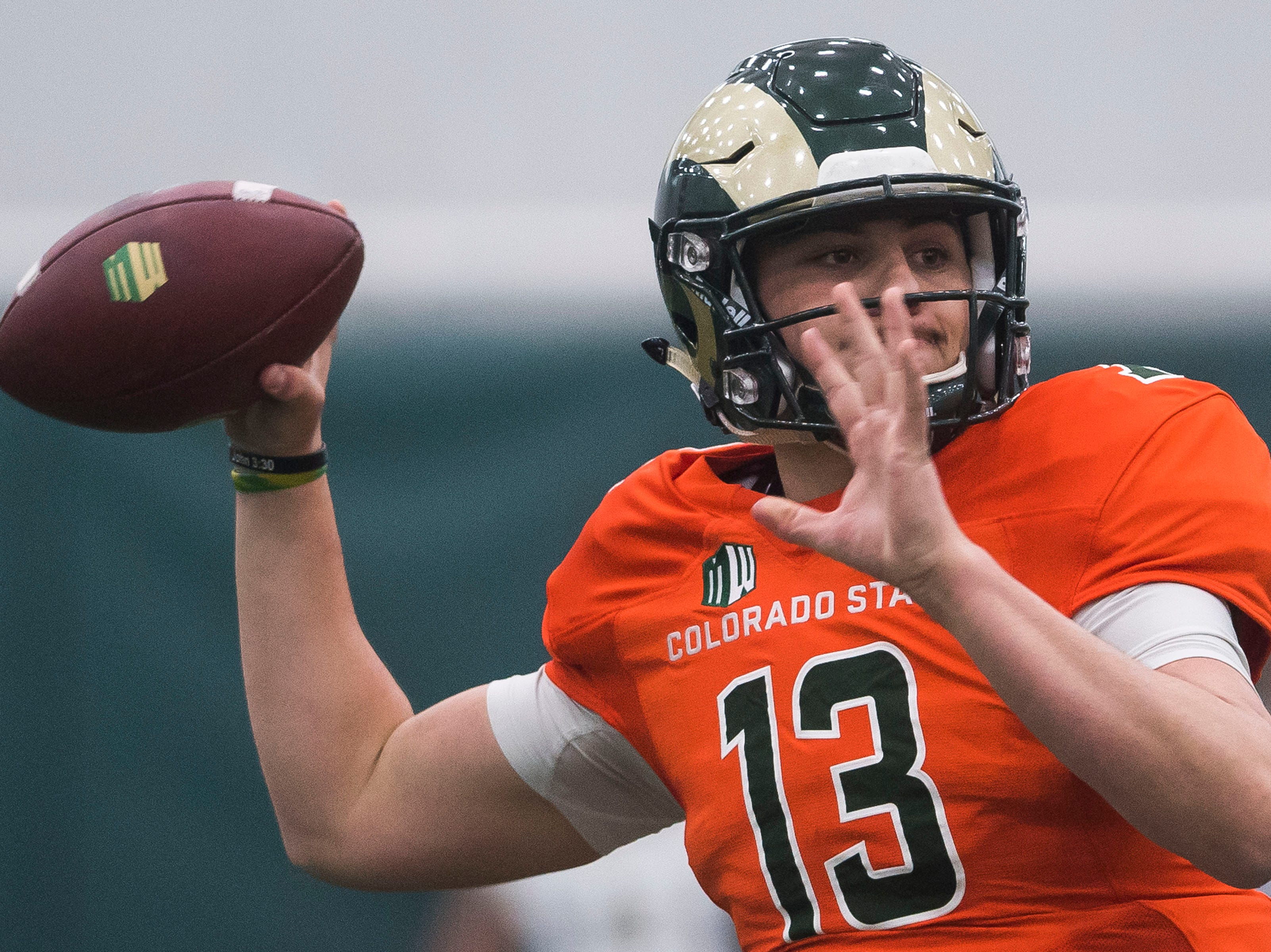 CSU sophomore quarterback Judd Erickson (13) throws during CSU's Spring game on Thursday, March 14, 2019, at their indoor practice facility in Fort Collins, Colo.