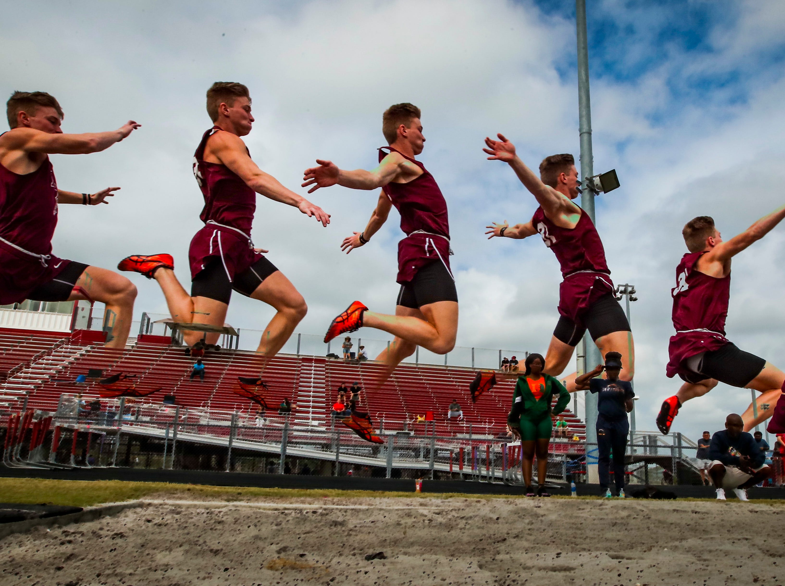 Wolfpack Invitational track meet at South Fort Myers, March 15, 2019. Thomas Casey, a senior at First Baptist, in the boys long jump.