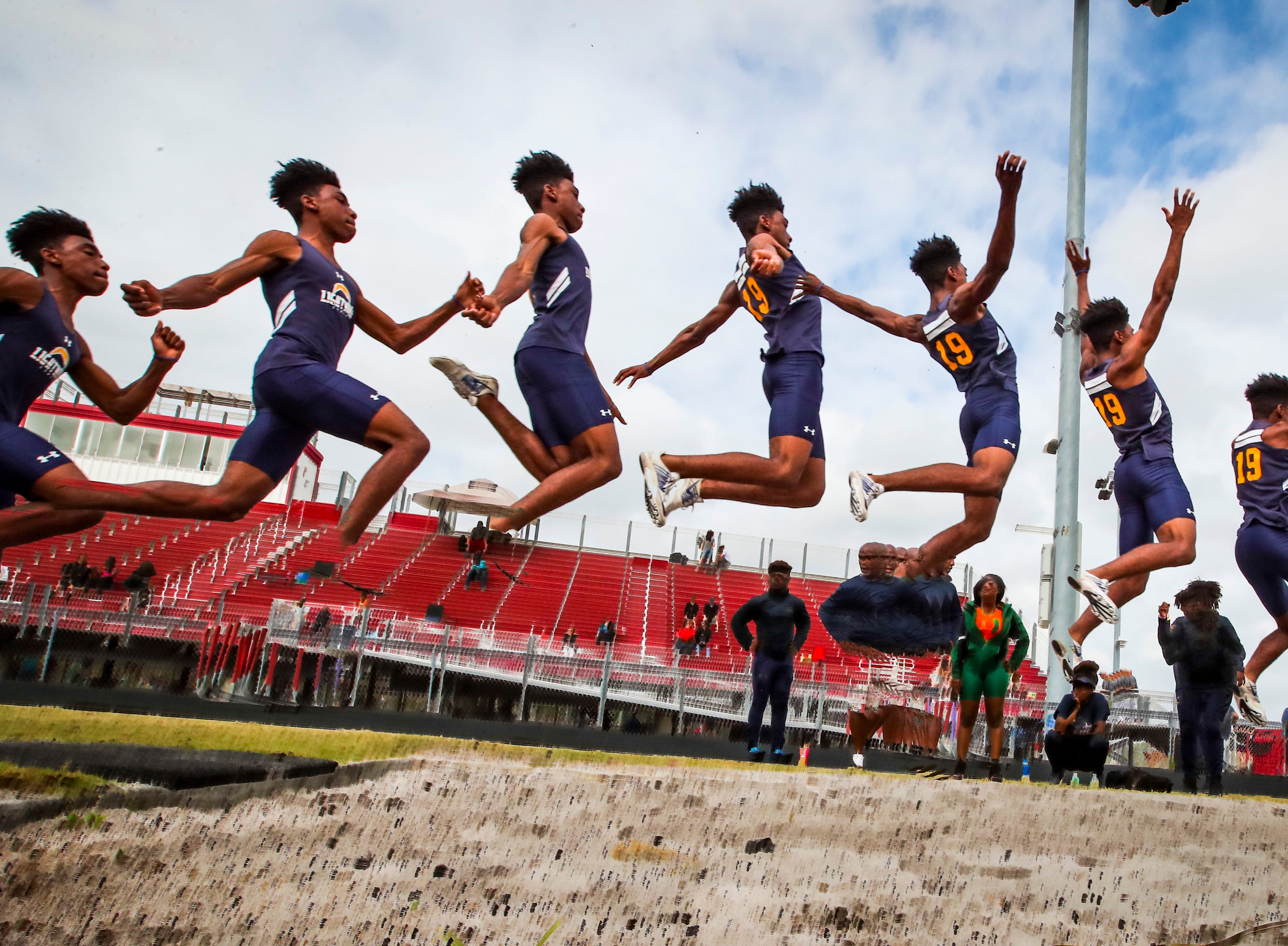 Wolfpack Invitational track meet at South Fort Myers, March 15, 2019. Jeremiah Davis, of  Lehigh, won the boys long jump.