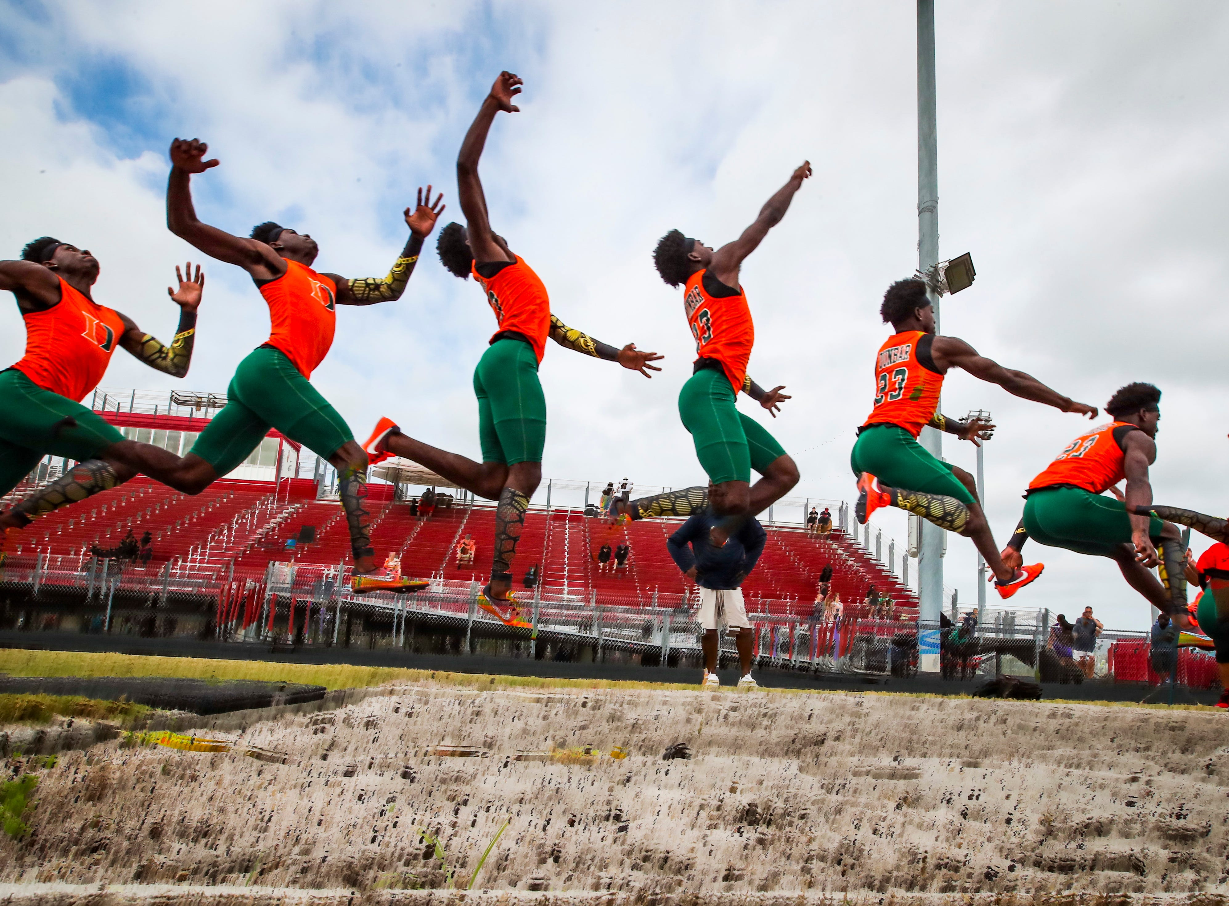 Wolfpack Invitational track meet at South Fort Myers, March 15, 2019. The boys long jump, Tionte Hatcher, a senior at  Dunbar.