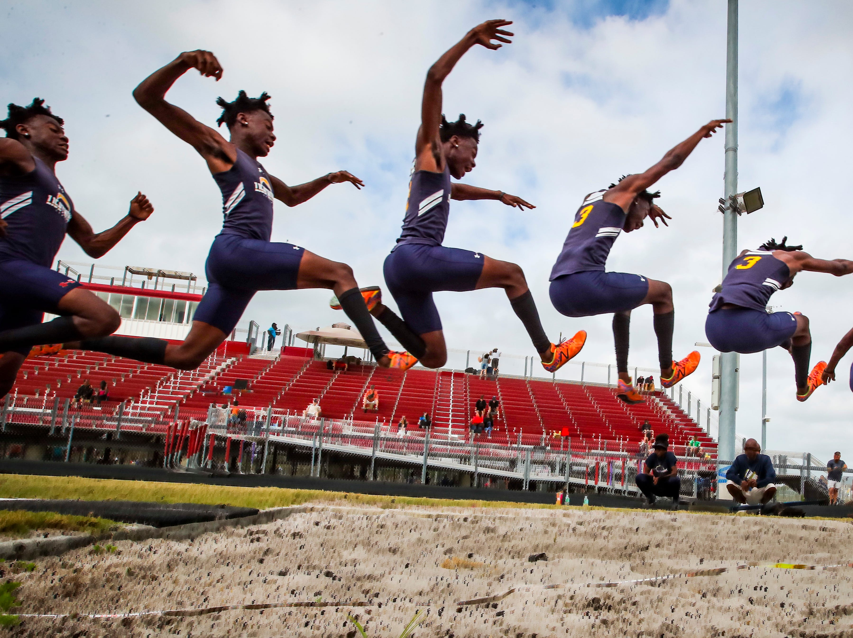 Wolfpack Invitational track meet at South Fort Myers, March 15, 2019. The boys long jump, Tyge Davis, a junior at Lehigh.