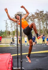 Dunbar High School senior Caleb Snowden's track and field season is in jeopardy after the season was put on hold throughout the state due to fears of the spread of coronavirus. Snowden is a defending state high jump champion.