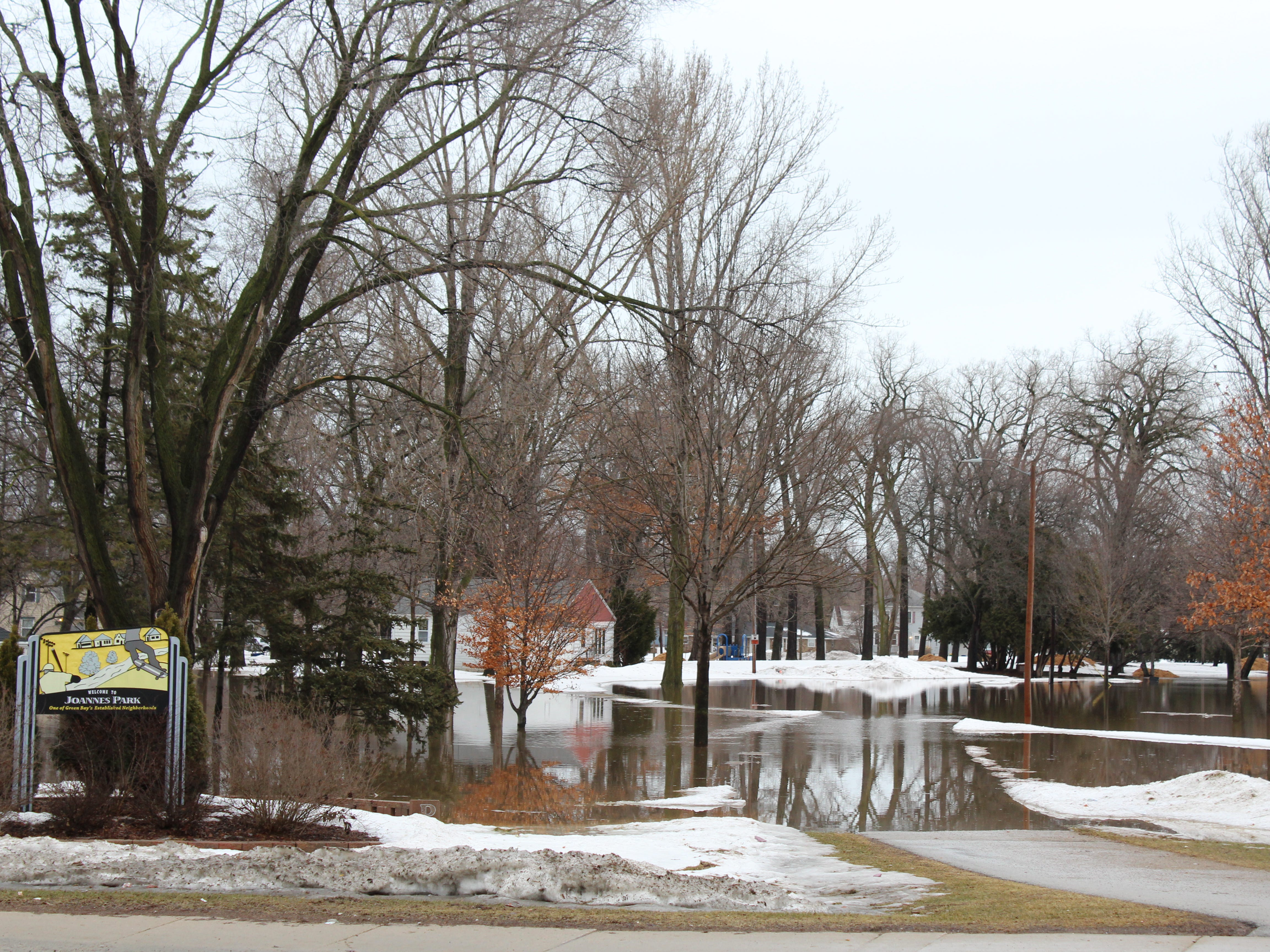 Most of Joannnes Park was under water Friday morning.