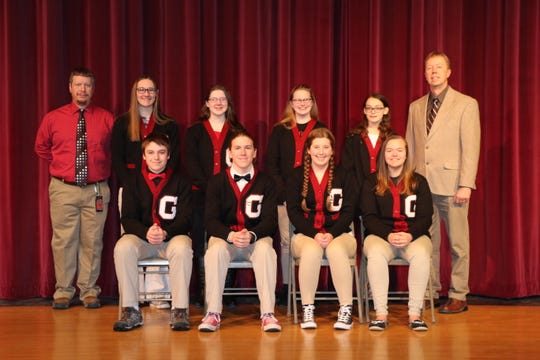 Members of the Gillett High School Hi-Q team, are from left, front row: sophomore Brandon Rodgers, senior Alex Rodgers, senior Jerika Heroux, sophomore Emily Umentum; back row: coach Brian Kurzynski, senior Kathy Bierhals, junior Marissa Klein, Bailey Pedersen, freshman Angela Mosconi and coach Don Olderman. Other members not pictured are senior Justin Engebretsen, sophonore Riley Engebretsen, sophomore KayLee Huebner,  sophomore John Heroux, sophomore Jenna Woelfel and freshman Amber Brehmer.