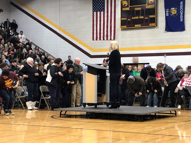 "Elizabeth Smart address a town hall at Barron High School. Abducted as a teen, Smart spoke about 13-year-old Jayme Closs, who was kidnapped in October and her parents were murdered. Closs escaped in January. Smart said it's important to give Jayme ""space to relcaim her life."""