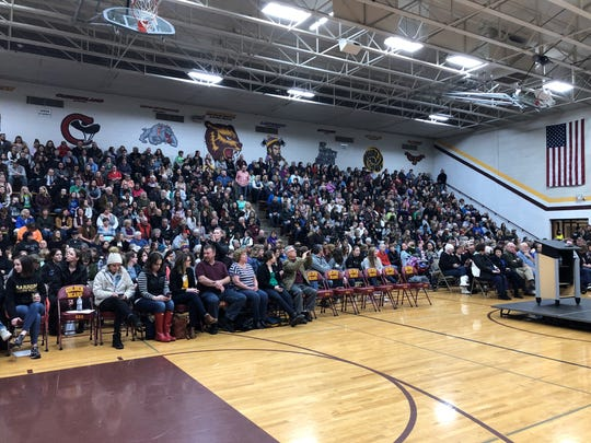A crowd gathers to hear Elizabeth Smart speak Friday night at Barron High School. Smart was abducted as a teen and is in Barron to speak to the community. Jayme Closs, 13, of Barron was kidnapped and her parents killed in October. Closs escaped from her abductor in January.