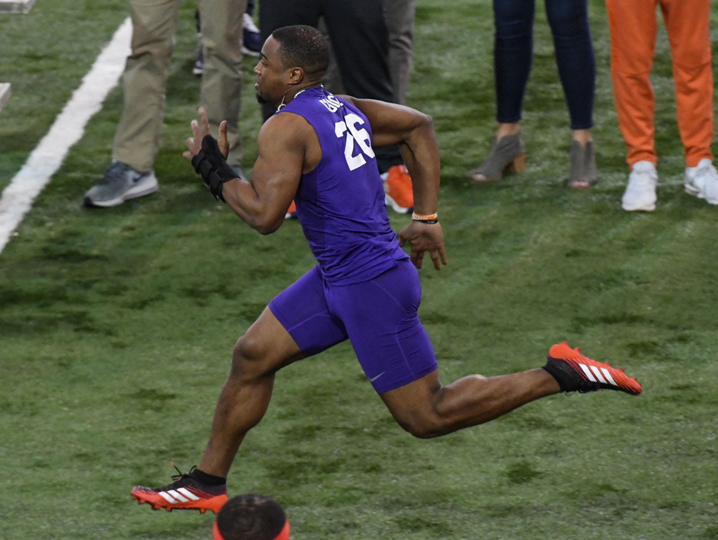Former Clemson running back Adam Choice runs a 4.52 40-yard dash during Clemson Pro Day at the Poe Indoor Facility in Clemson, S.C. Thursday, March 14, 2019.