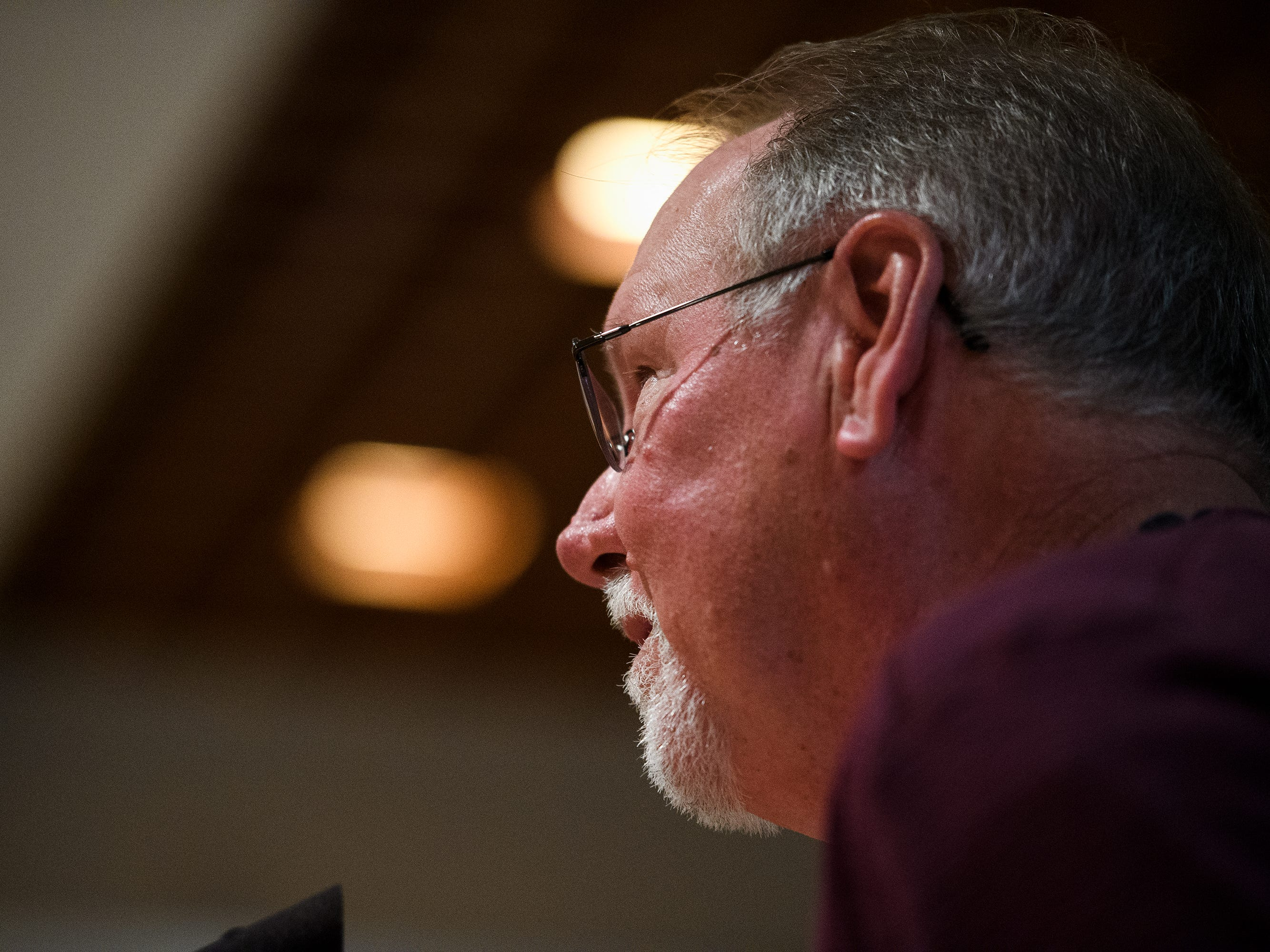 James Hill voices his disapproval of a proposed Duke Energy rate increase during a public hearing Thursday, March 14, 2019 at Greenville County Square.