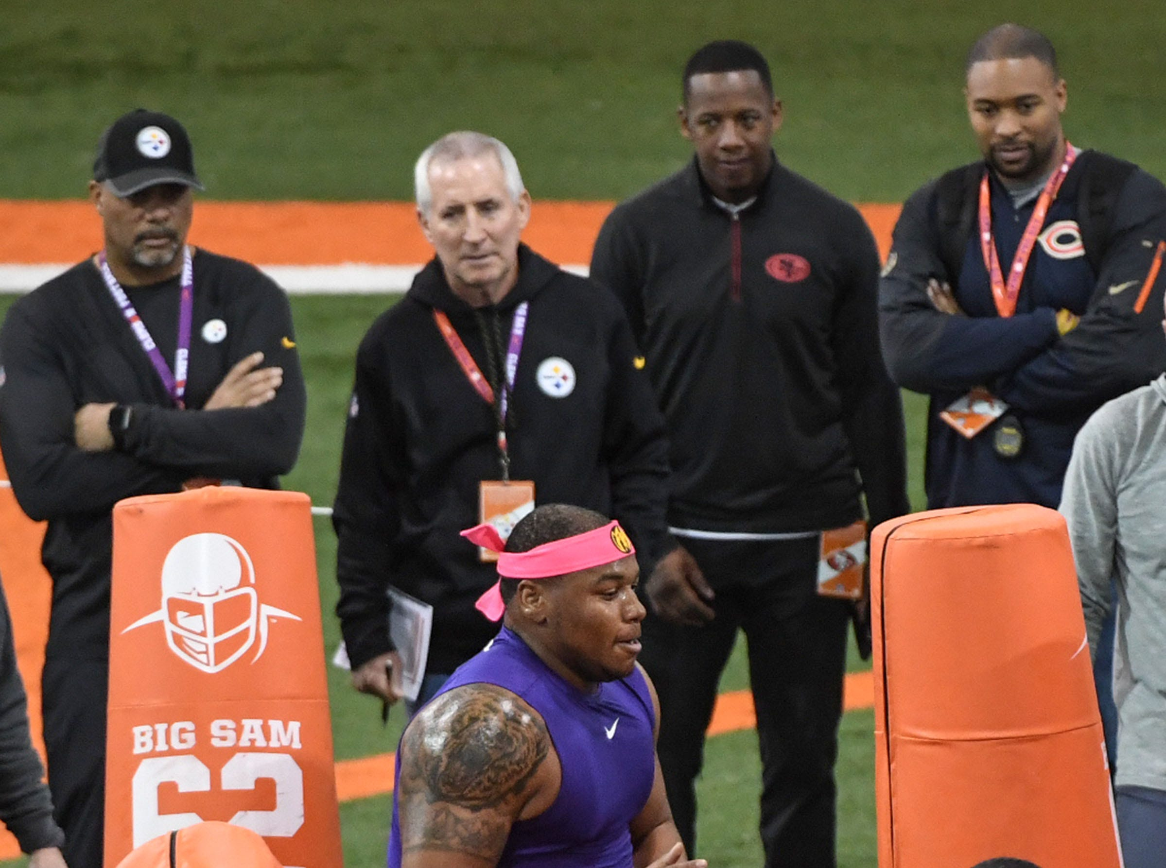 Defensive lineman Dexter Lawrence runs through a drill for NFL scouts during Clemson Pro Day at the Poe Indoor Facility in Clemson, S.C. Thursday, March 14, 2019.