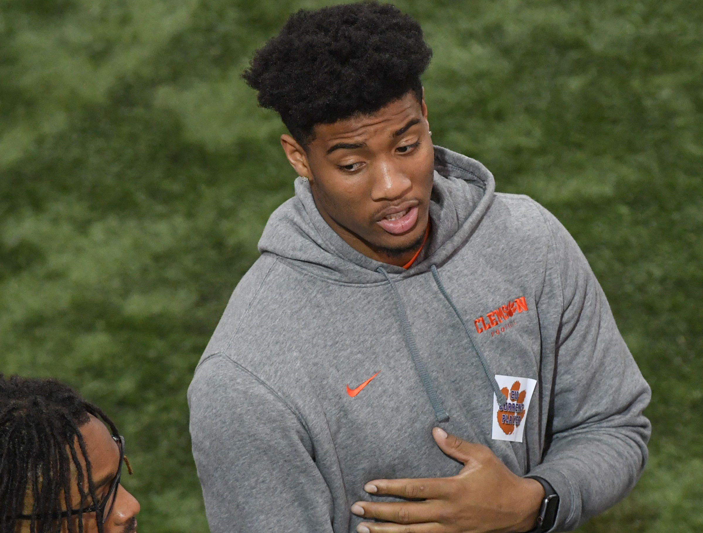 Clemson cornerback A.J. Terrell attends Clemson Pro Day at the Poe Indoor Facility in Clemson, S.C. Thursday, March 14, 2019.