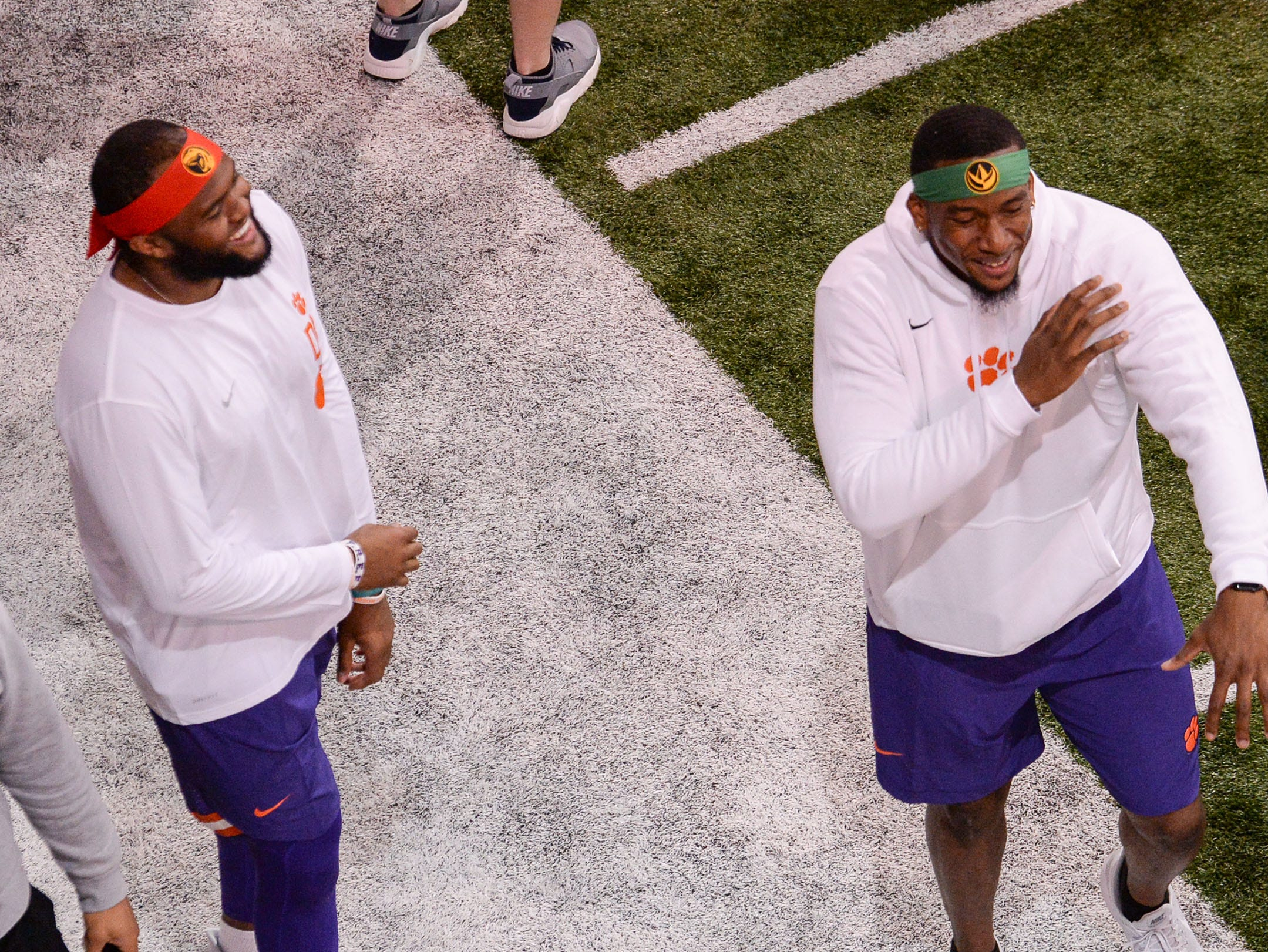 Defensive end Austin Bryant, left, and Clelin Ferrell during Clemson Pro Day at the Poe Indoor Facility in Clemson, S.C. Thursday, March 14, 2019.