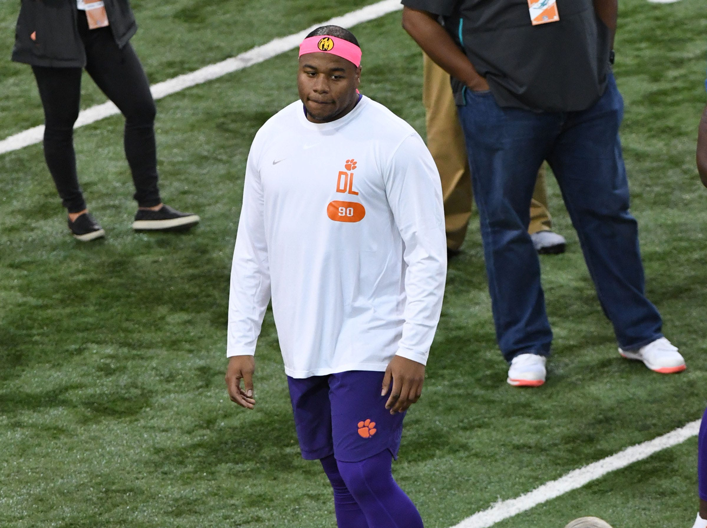 Defensive lineman Dexter Lawrence during Clemson Pro Day at the Poe Indoor Facility in Clemson, S.C. Thursday, March 14, 2019.