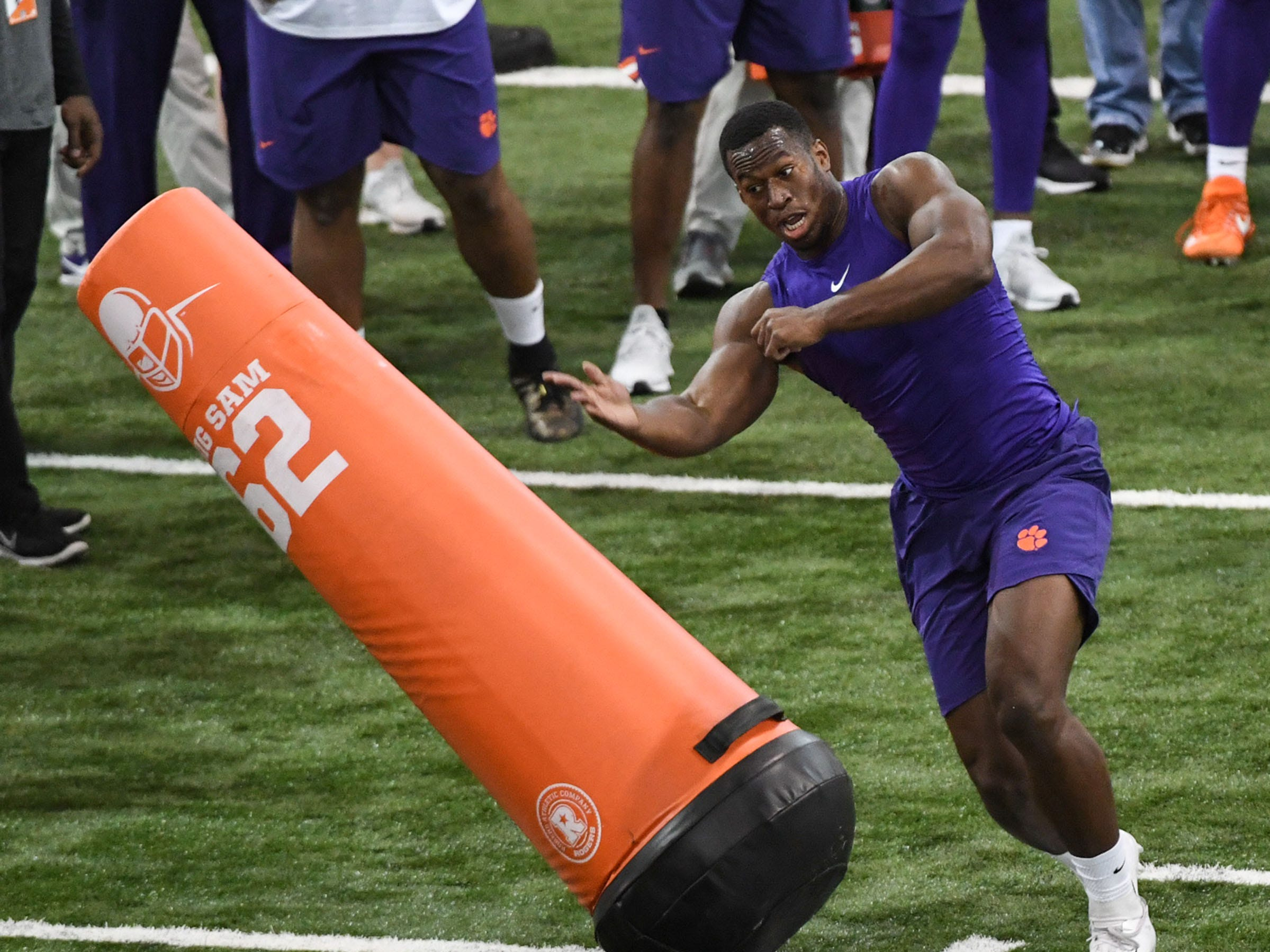 Defender Tre Lamar III runs through a drill during Clemson Pro Day at the Poe Indoor Facility in Clemson, S.C. Thursday, March 14, 2019.