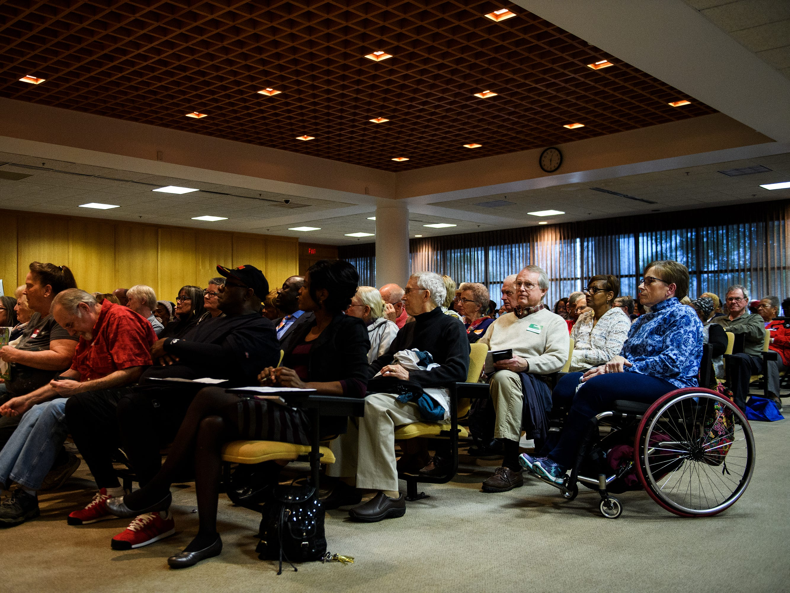 Greenville County residents voice their concerns over a proposed Duke Energy rate increase during a public hearing Thursday, March 14, 2019 at Greenville County Square.