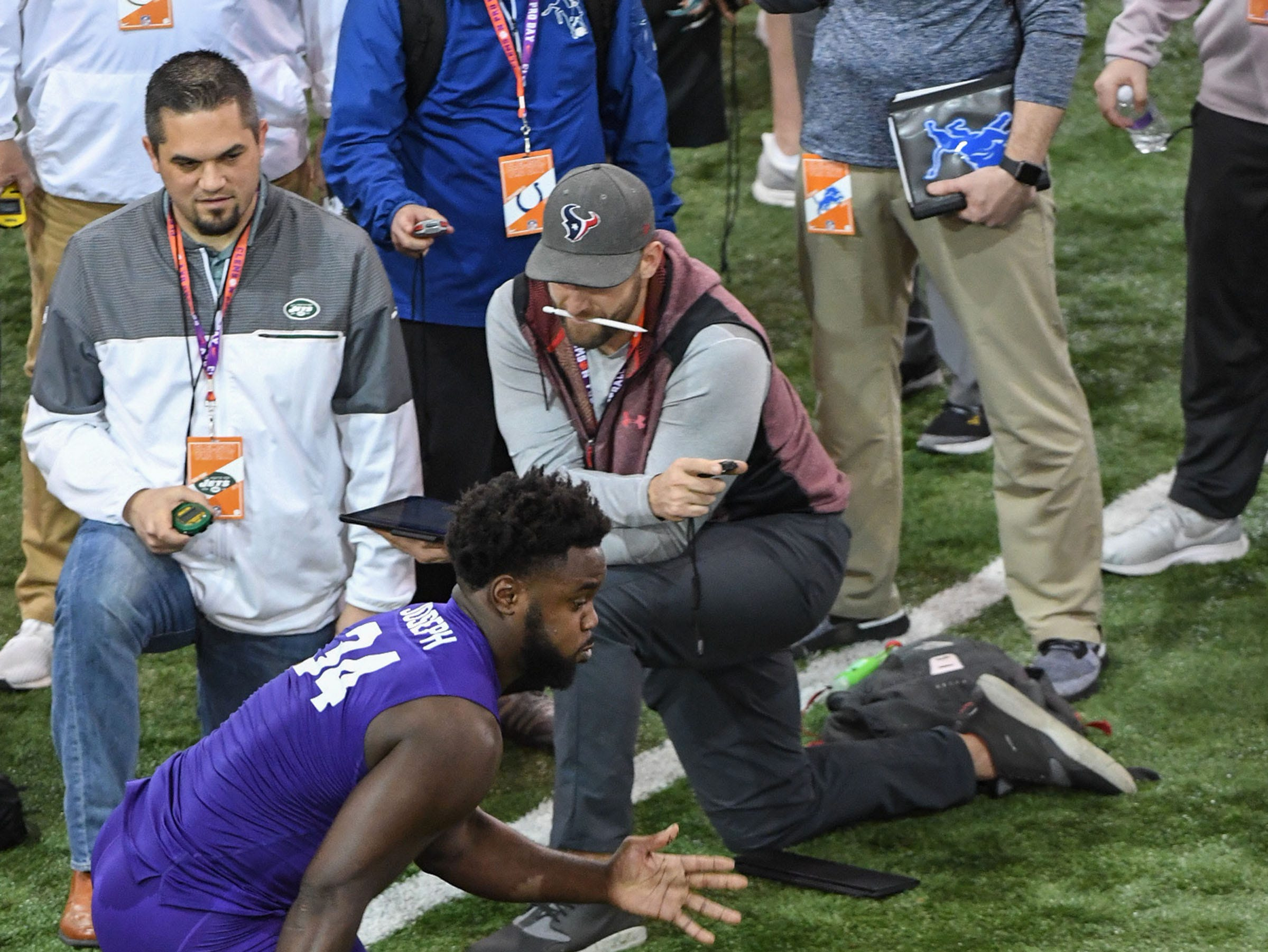 Linebacker Kendall Joseph runs a 7.62 second L-drill for NFL scouts during Clemson Pro Day at the Poe Indoor Facility in Clemson, S.C. Thursday, March 14, 2019.