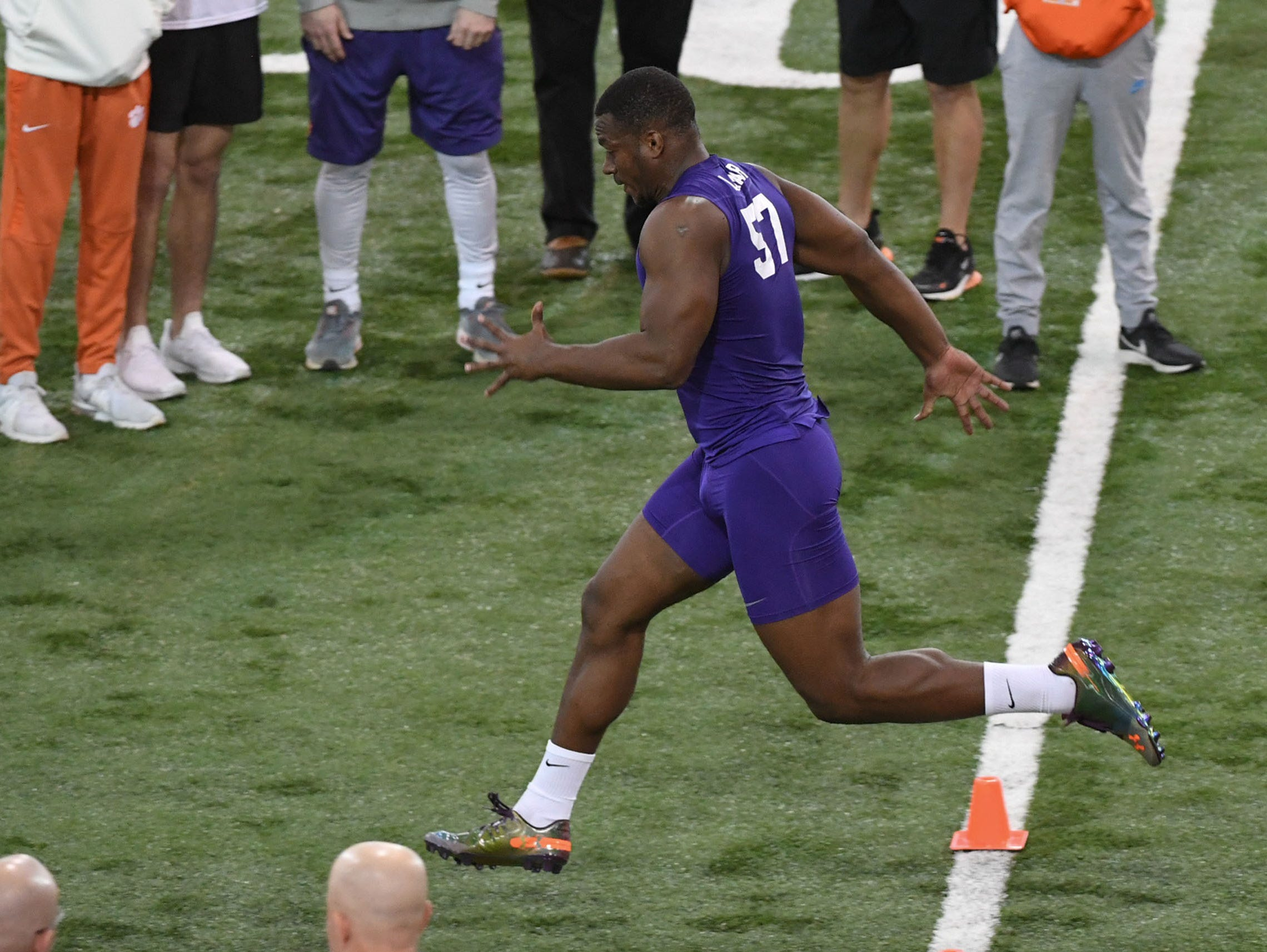 Former Clemson linebacker Tre Lamar III runs a 4.95 40-yard dash during Clemson Pro Day at the Poe Indoor Facility in Clemson, S.C. Thursday, March 14, 2019.