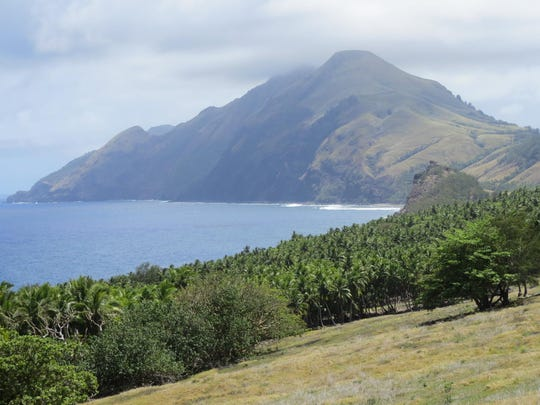 Mt. Pagan, on the island of Pagan, as seen from the center of the island in 2015.