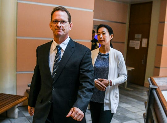 Former Lt. Gov. Ray Tenorio emerges with his wife, Madoka Hosotani, during a jury selection process at the Guam Judicial Center in Hagåtña on Friday, March 15, 2019. Tenorio in on trial for two charges of reckless conduct, as well as others charges, in relations to the alleged grabbing of a firearm from a Guam Police Department officer's holster, during a block party event in Tumon, last year on July 7.