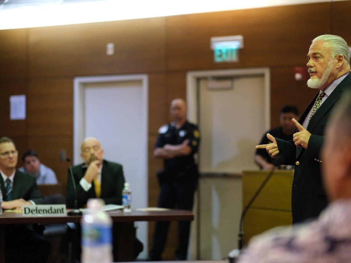 Chief Prosecutor Basil O'Mallan III talks to the jury in trial of former Lt. Gov. Ray Tenorio on March 15, 2019.