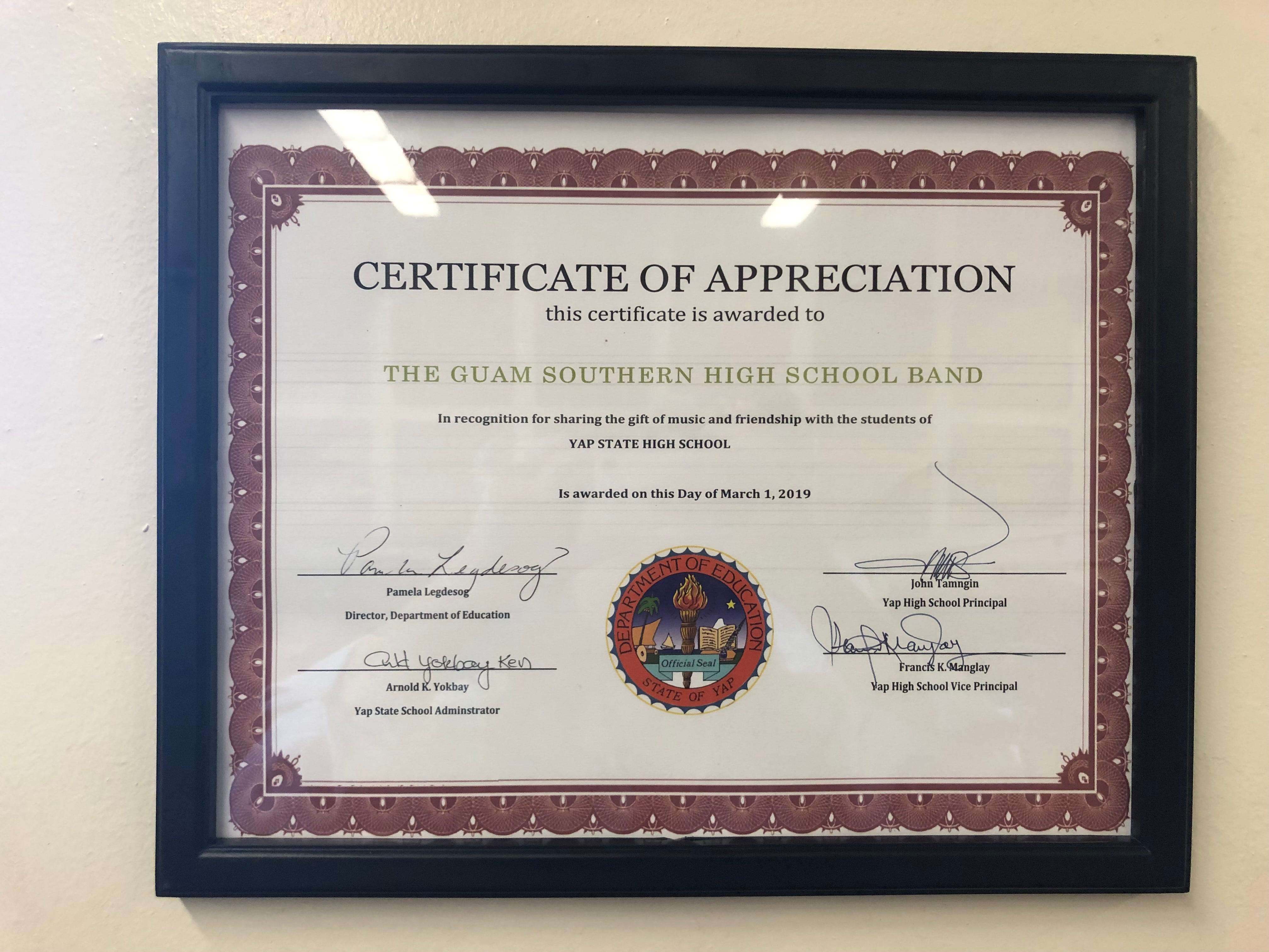 Southern Variety earns a certificate of appreciation from Yap High School after partaking in a music and cultural exchange in March.