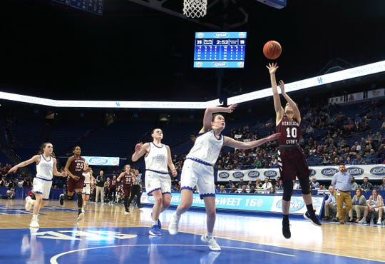 Henderson County's Katie Rideout shot Friday against North Laurel in Game 8 of the KHSAA Girls' Sweet 16 at Rupp Arena in Lexington.