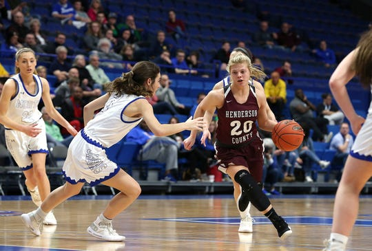 Henderson County's Kaytlan Kemp dribbled Friday against North Laurel in Game 8 of the KHSAA Girls' Sweet 16 at Rupp Arena in Lexington.
