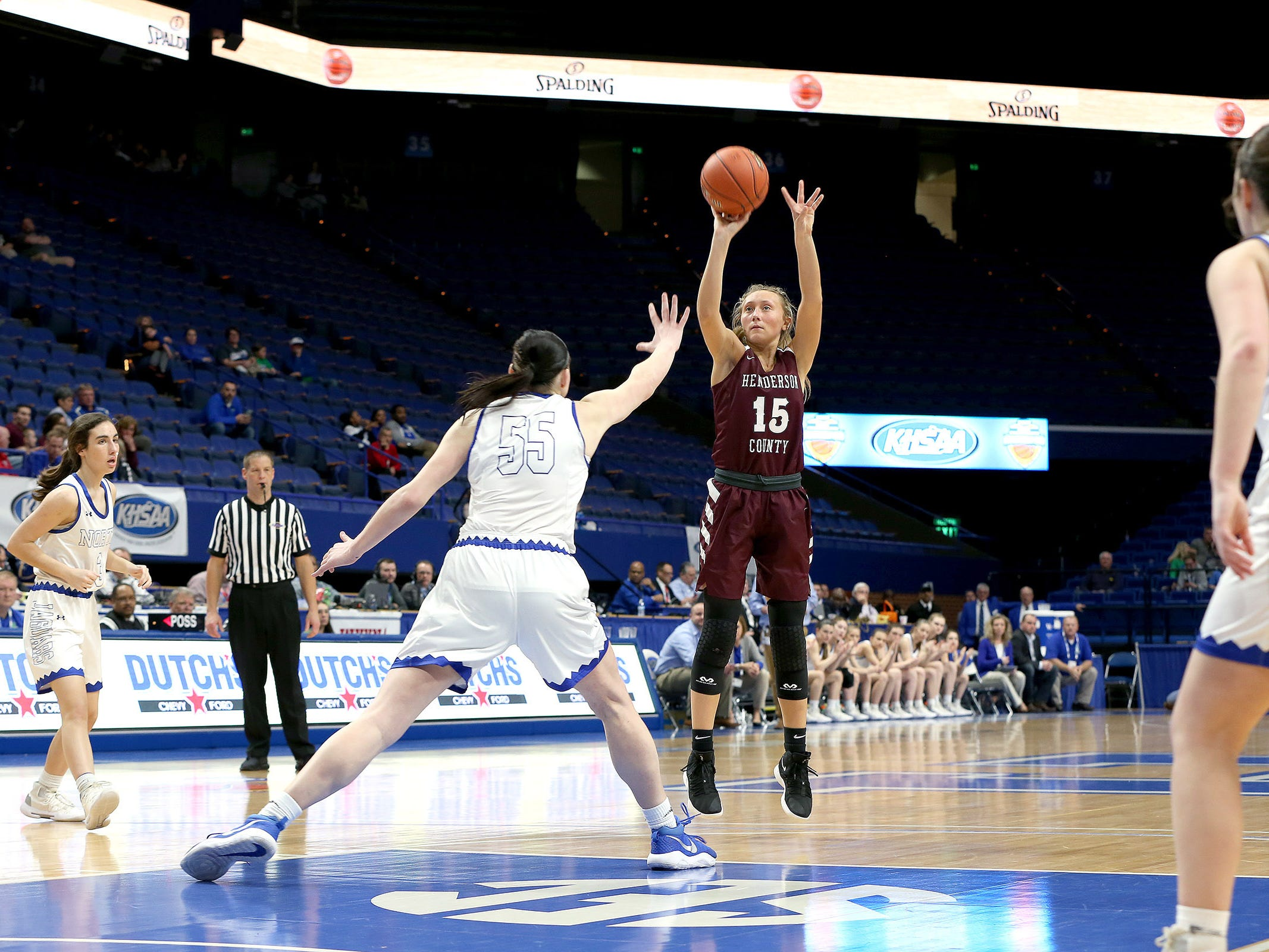 Henderson County's Alyssa Dickson shot Friday against North Laurel's Raegan Hubbard in Game 8 of the KHSAA Girls' Sweet 16 at Rupp Arena in Lexington.