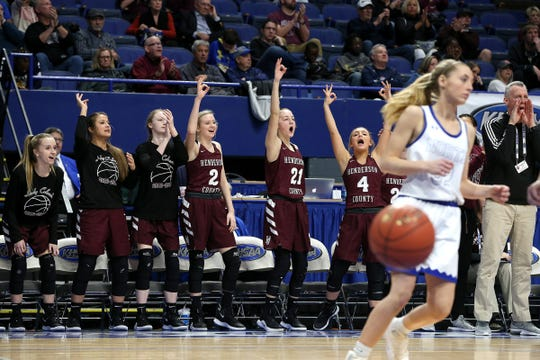 Henderson County players cheered a basket Friday against North Laurel in Game 8 of the KHSAA Girls' Sweet 16 at Rupp Arena in Lexington.