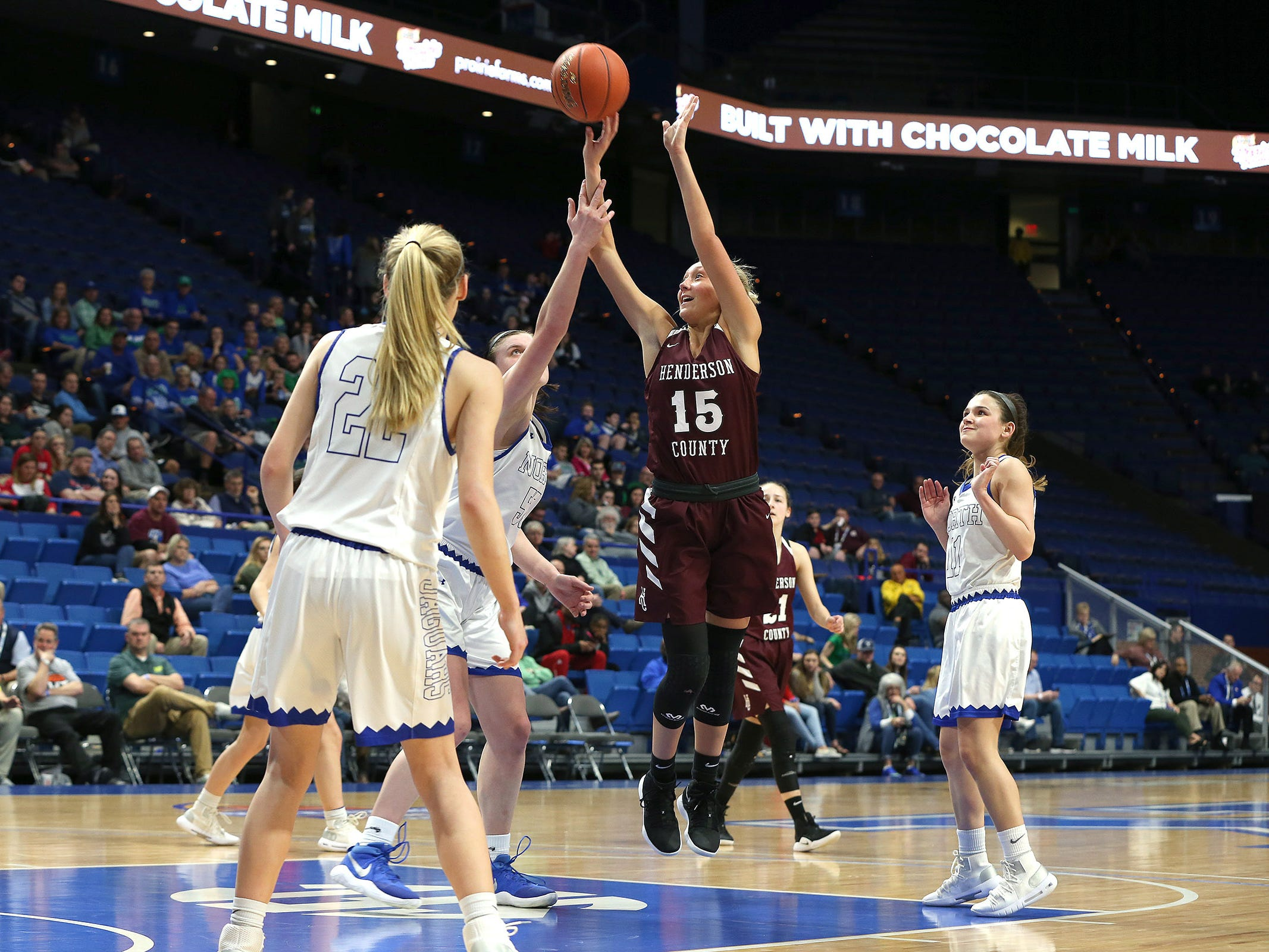 Henderson County's Alyssa Dickson shot Friday against North Laurel in Game 8 of the KHSAA Girls' Sweet 16 at Rupp Arena in Lexington.