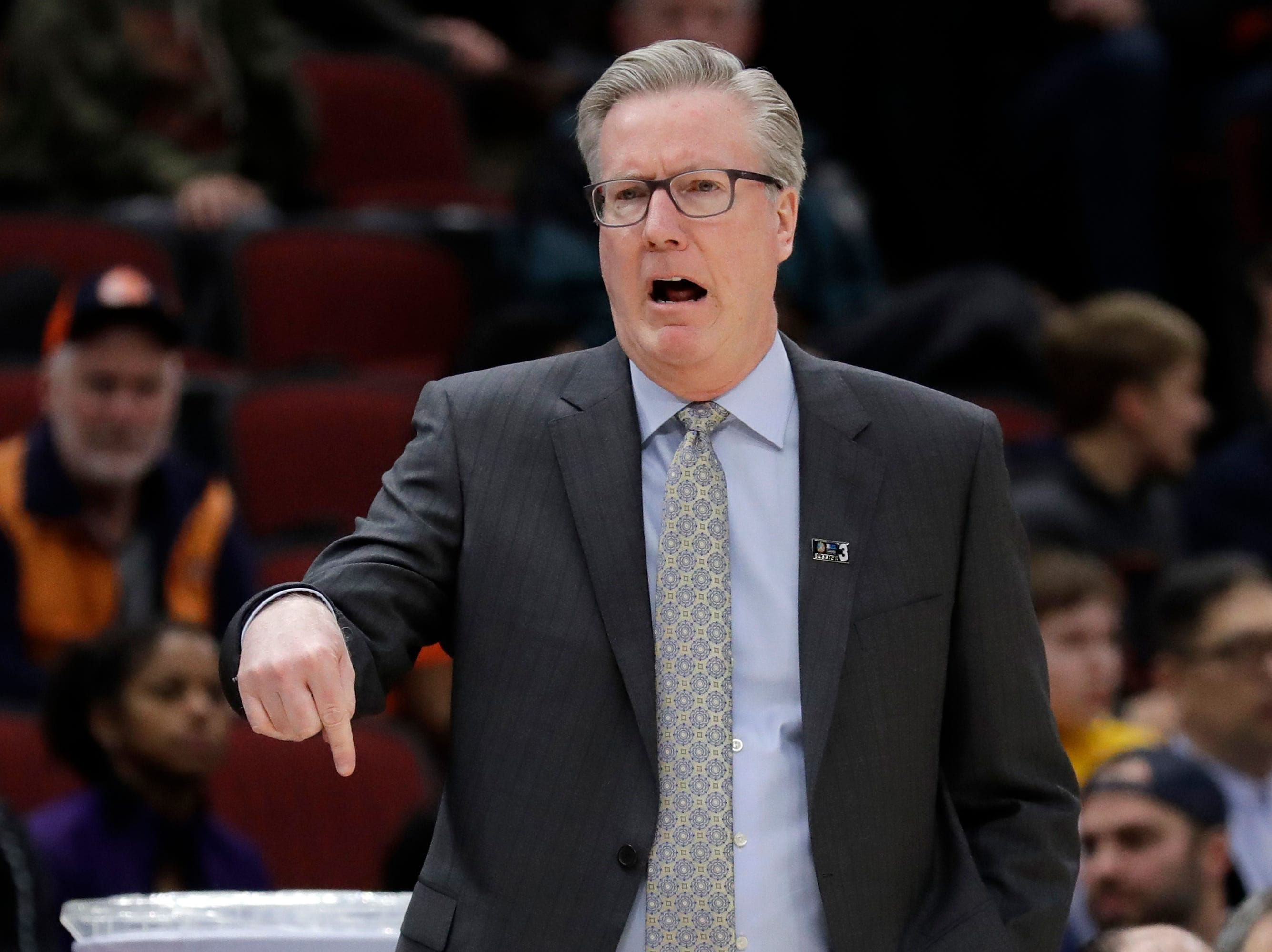 Iowa head coach Fran McCaffery directs his team during the first half of an NCAA college basketball game against the Illinois in the second round of the Big Ten Conference tournament, Thursday, March 14, 2019, in Chicago. (AP Photo/Nam Y. Huh)