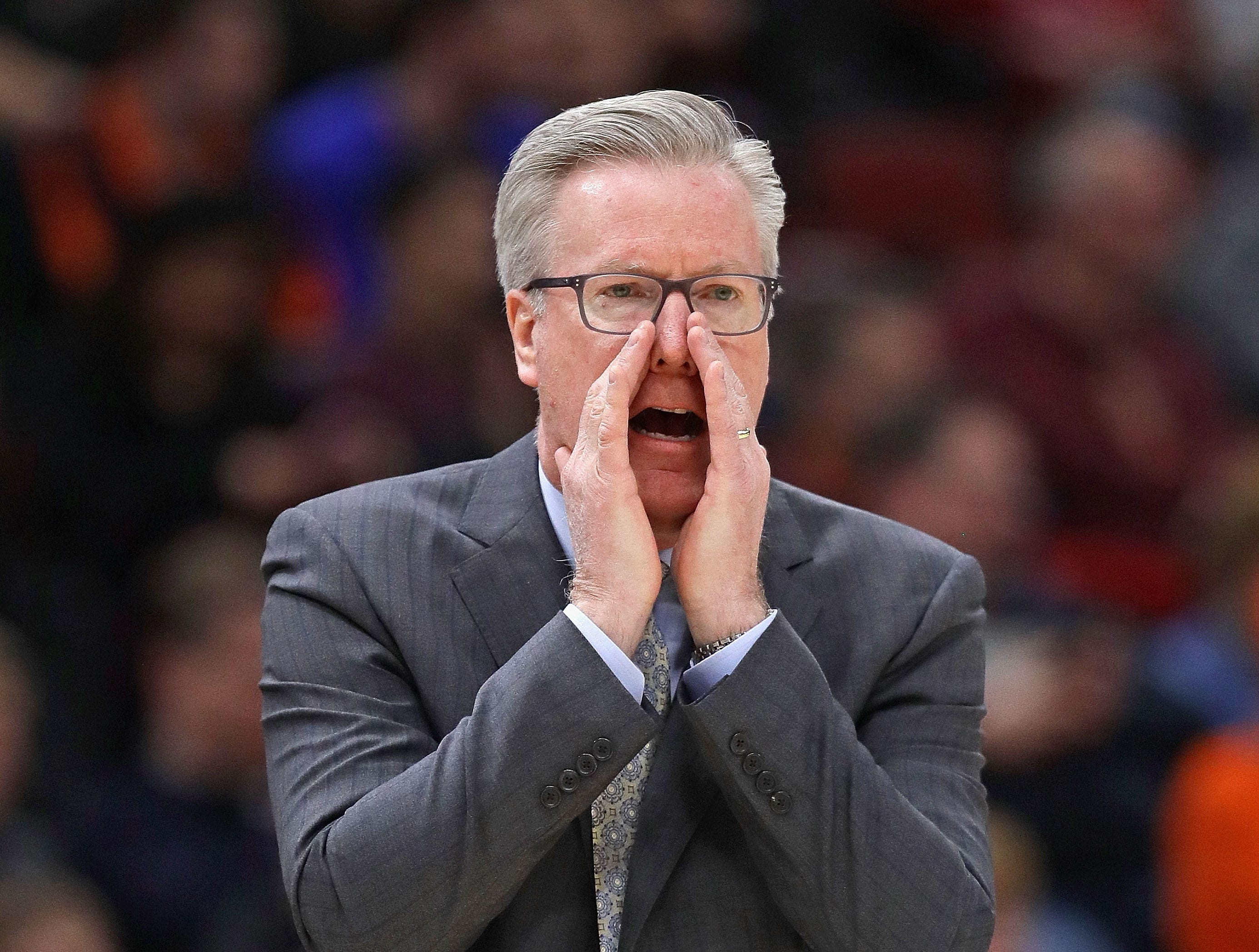 CHICAGO, ILLINOIS - MARCH 14: Head coach Fran McCaffery of the Iowa Hawkeyes gives instructions to his team against the Illinois Fighting Illini at the United Center on March 14, 2019 in Chicago, Illinois.  (Photo by Jonathan Daniel/Getty Images)