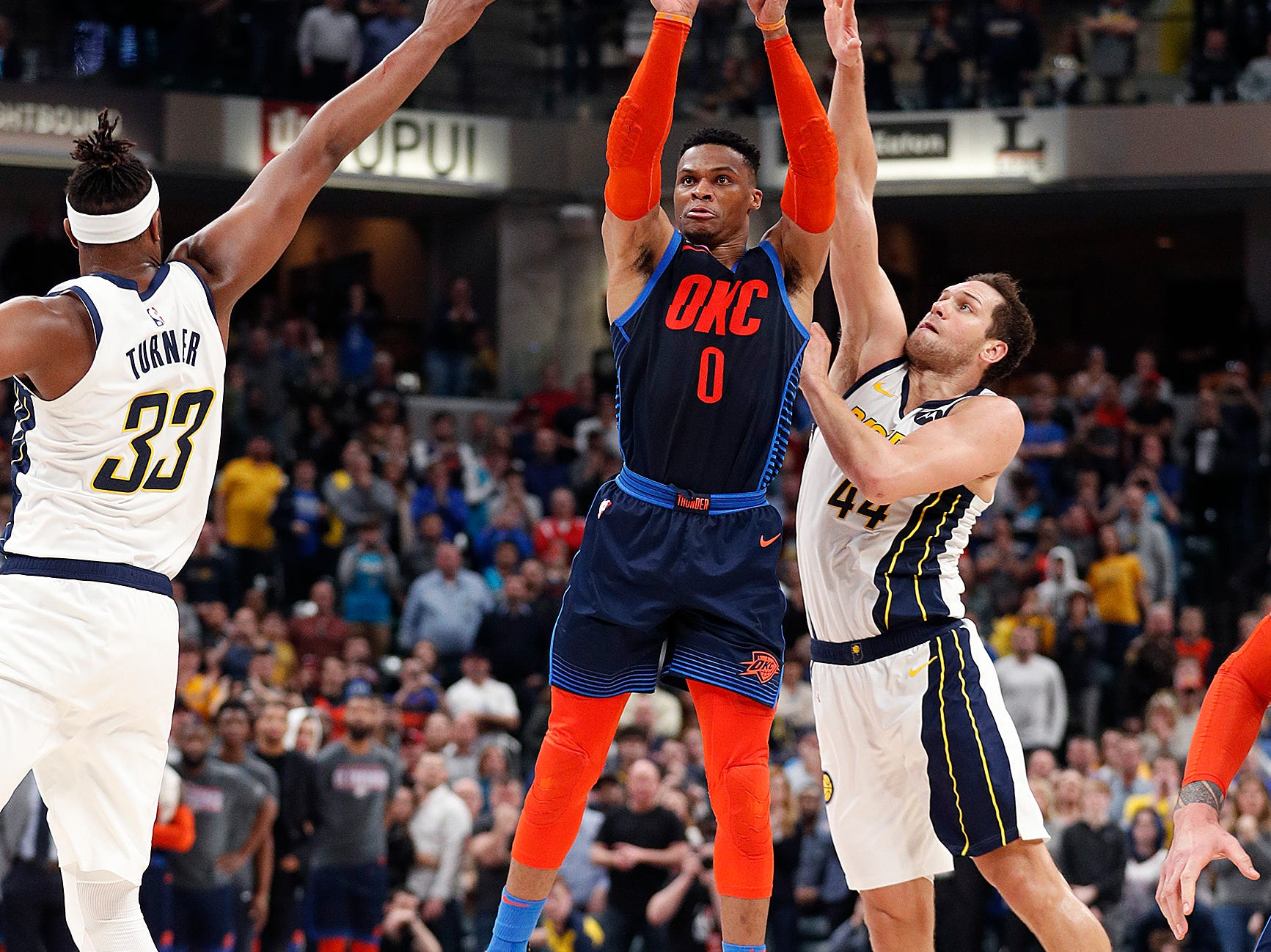 Oklahoma City Thunder guard Russell Westbrook (0) puts up a last second shot in an attempt to win the game as time runs out in the fourth quarter of their game at Bankers Life Fieldhouse on Thursday, Mar. 14, 2019. The Pacers defeated the Thunder 108-106.