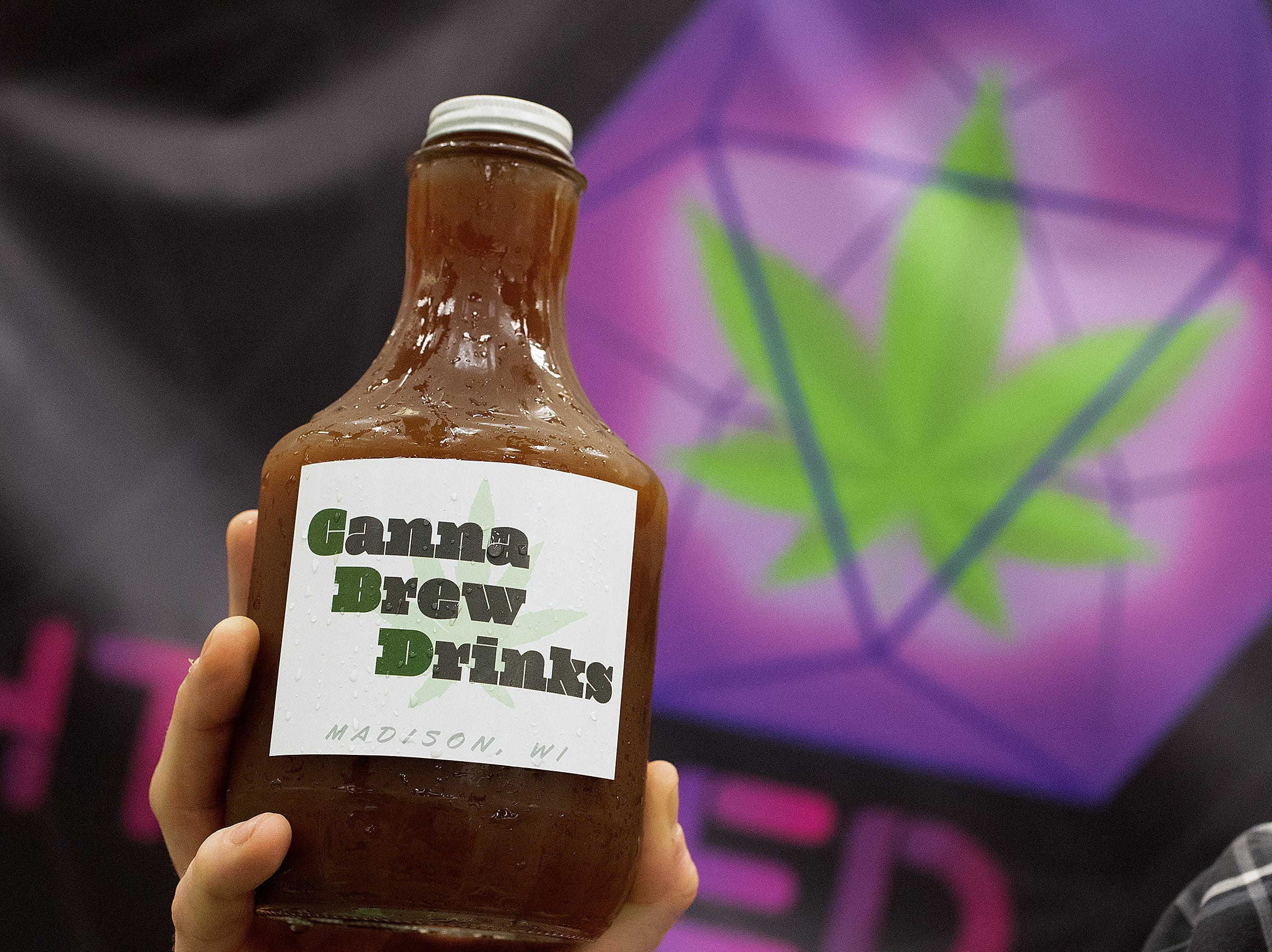 """""""Let It Ride"""" Canna Brew Drinks, bottle cold brew coffee from Madison WI, at the CBD Expo at the Marriott East in Indianapolis on Friday, Mar. 15, 2019."""